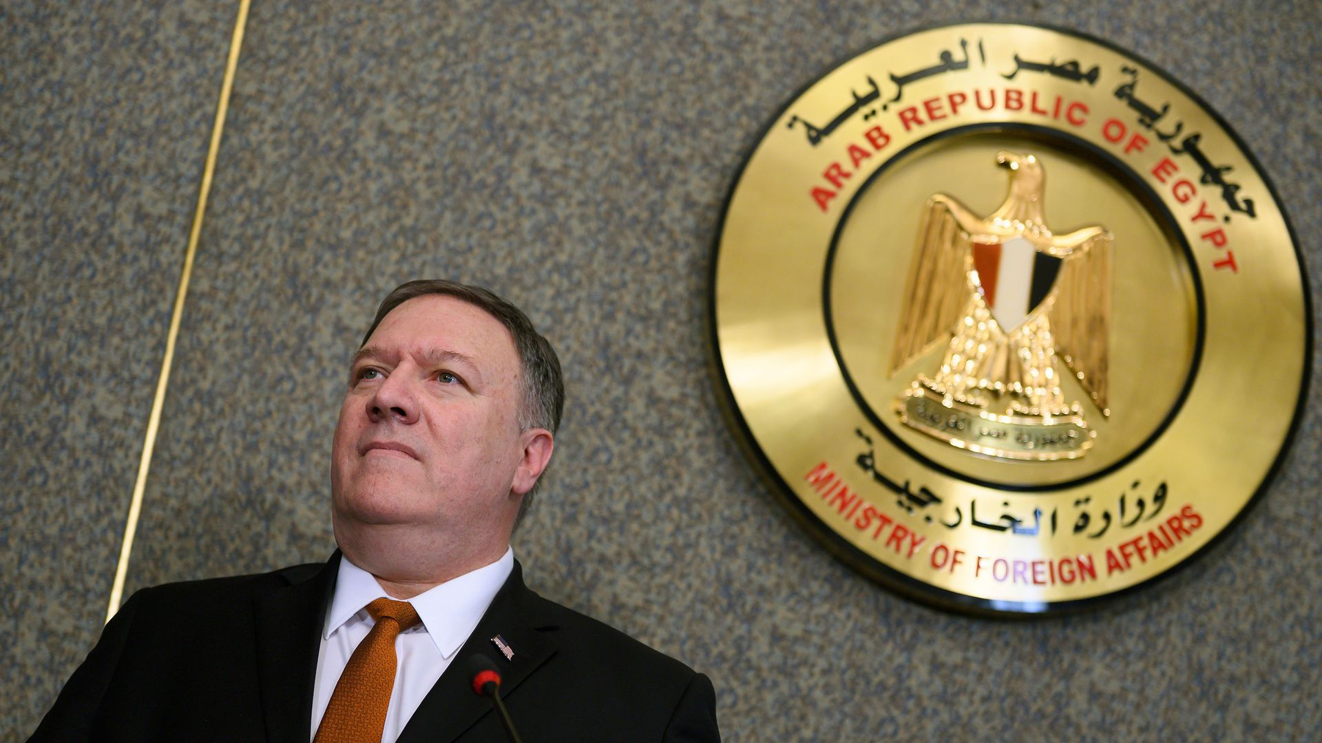 US Secretary of State Mike Pompeo holds a joint press conference with his Egyptian counterpart following their meeting at the ministry of foreign affairs in Cairo on January 10, 2019.