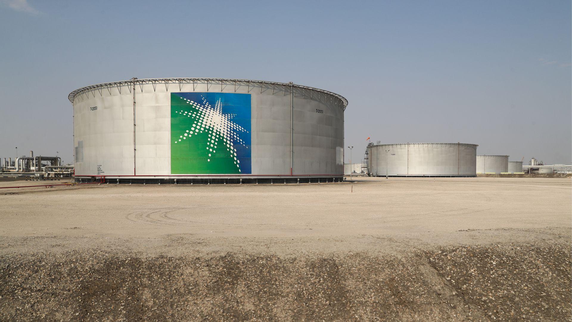 Oil tanks at an oil processing facility of Saudi Aramco