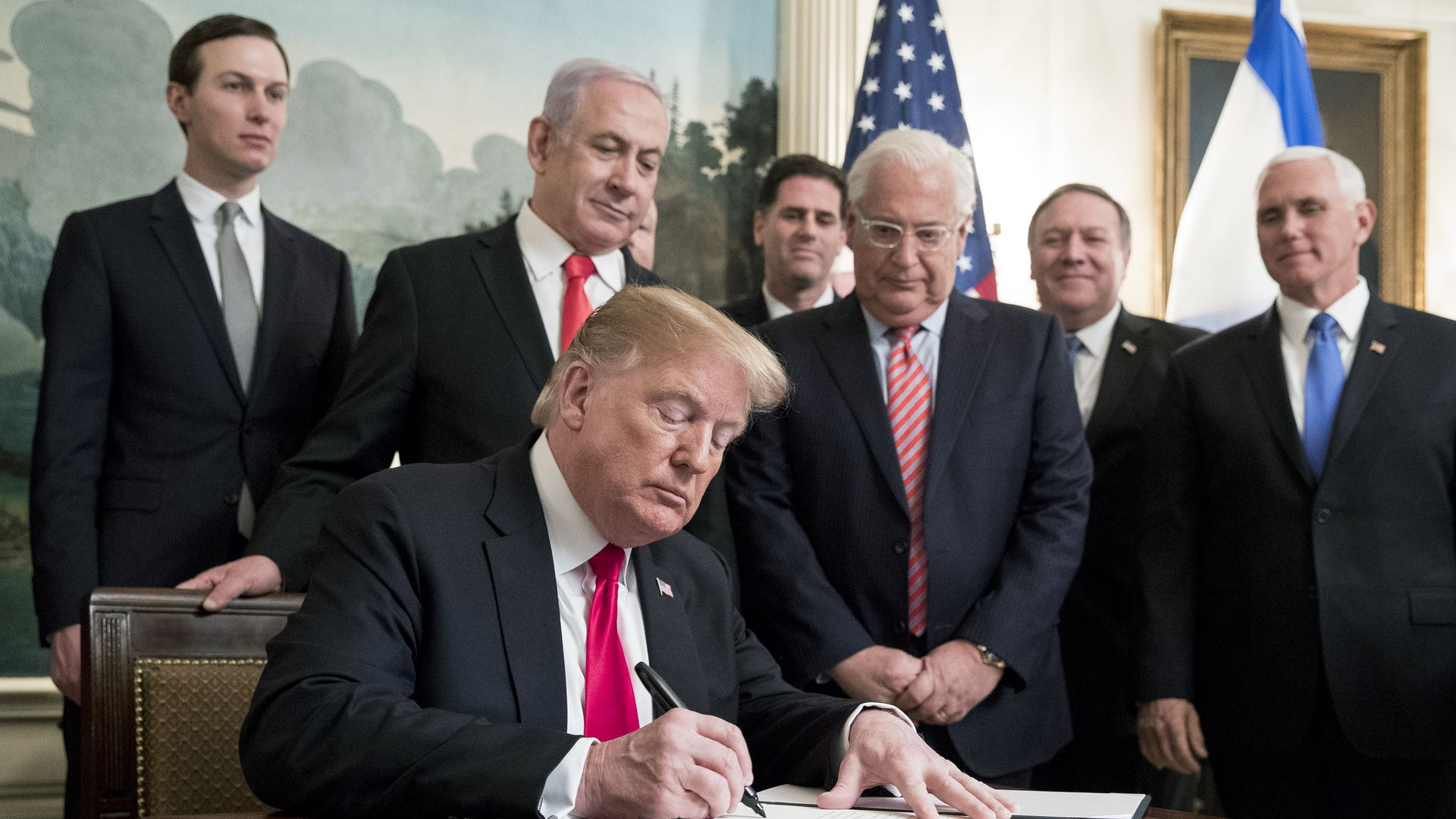 Trump signing a proclamation with Israeli leaders