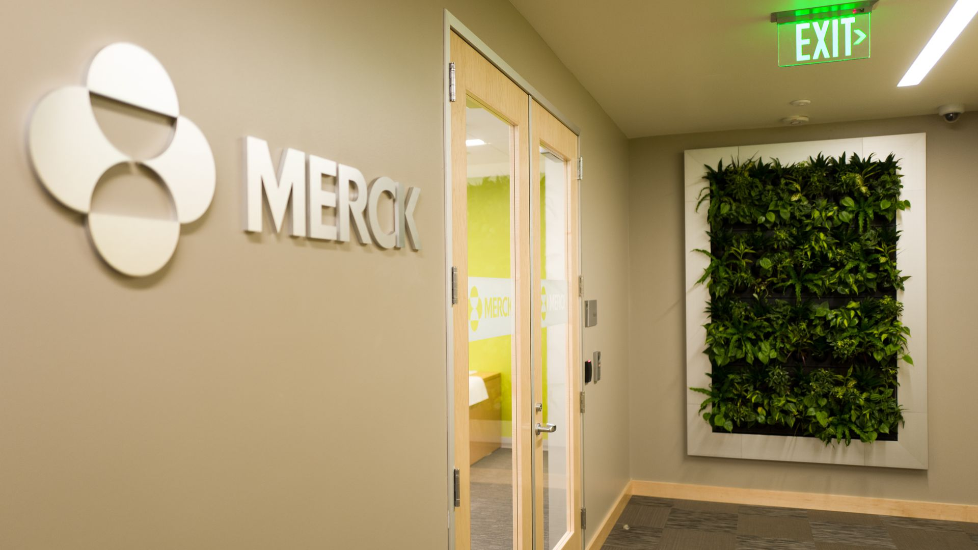 View of the entrance to the Mission Bay office of pharmaceutical company Merck