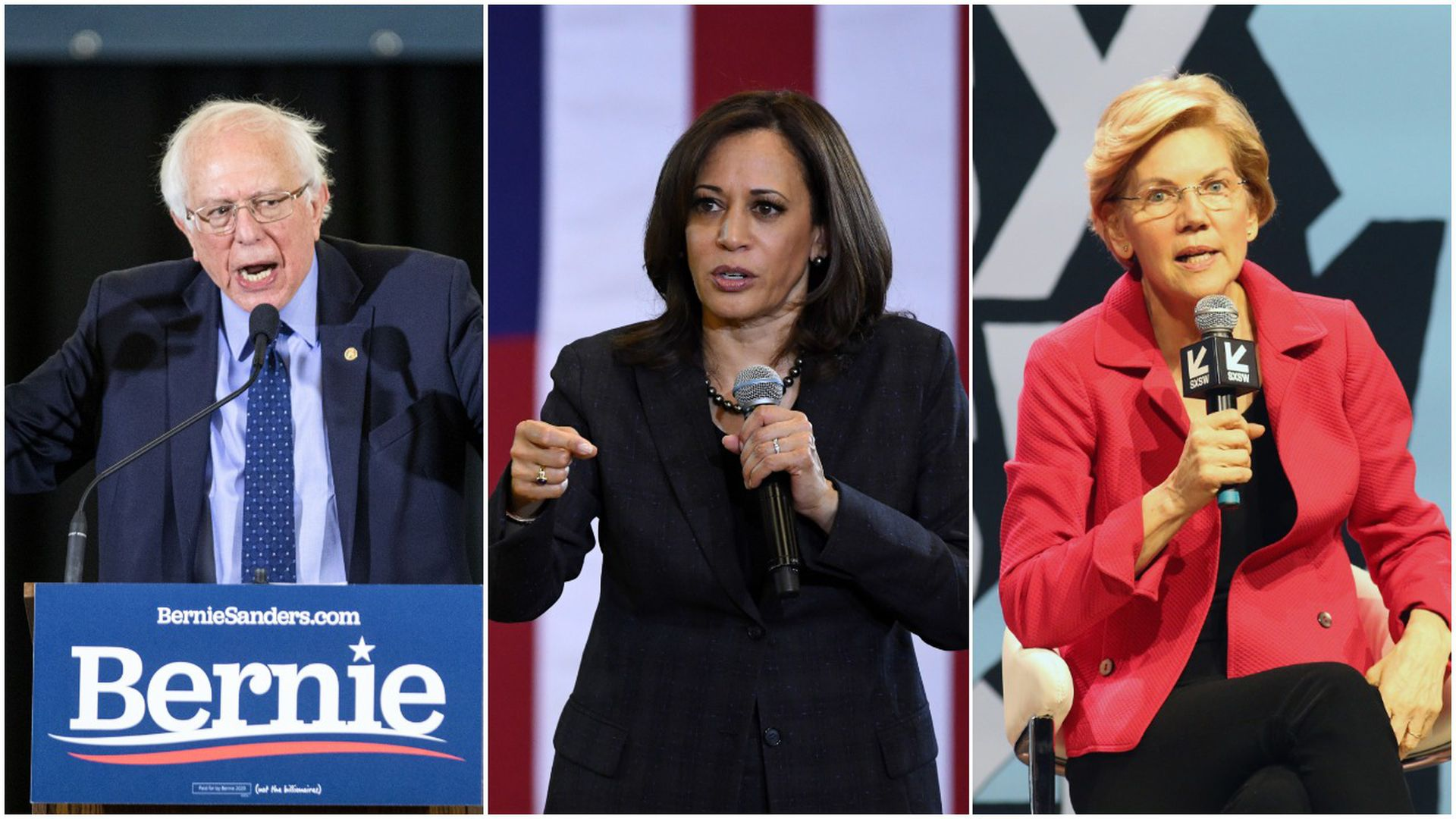 Bernie Sanders, Kamala Harris, Elizabeth Warren pictures in a collage