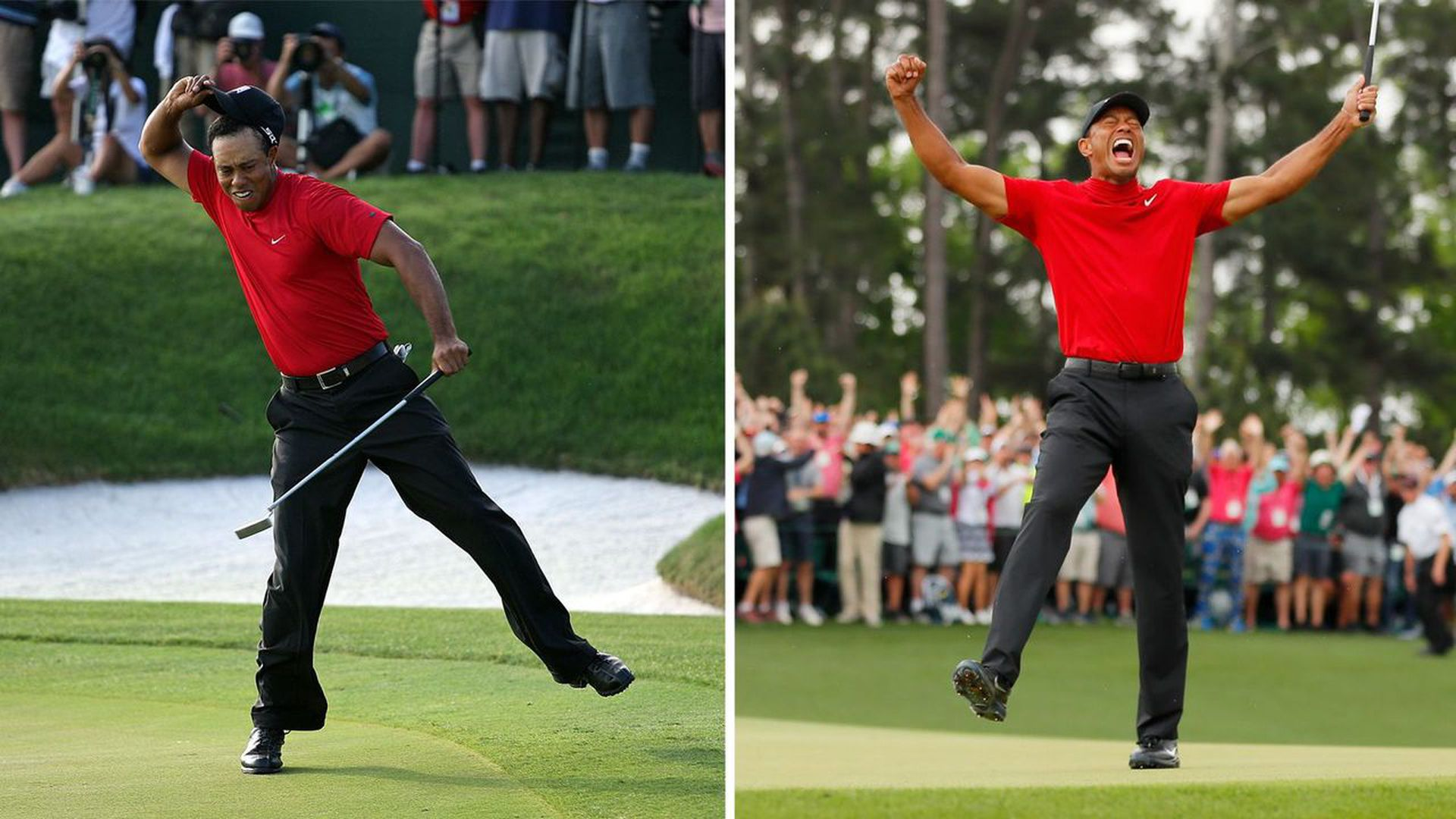 Tiger in 2008, and on Sunday. Photos: Andy Lyons/Getty Images; Kevin C. Cox/Getty Images