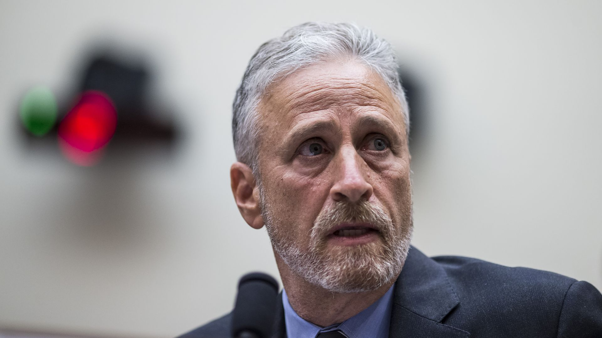 Former Daily Show Host Jon Stewart testifies during a House Judiciary Committee hearing on reauthorization of the September 11th Victim Compensation Fund on Capitol Hill on June 11.
