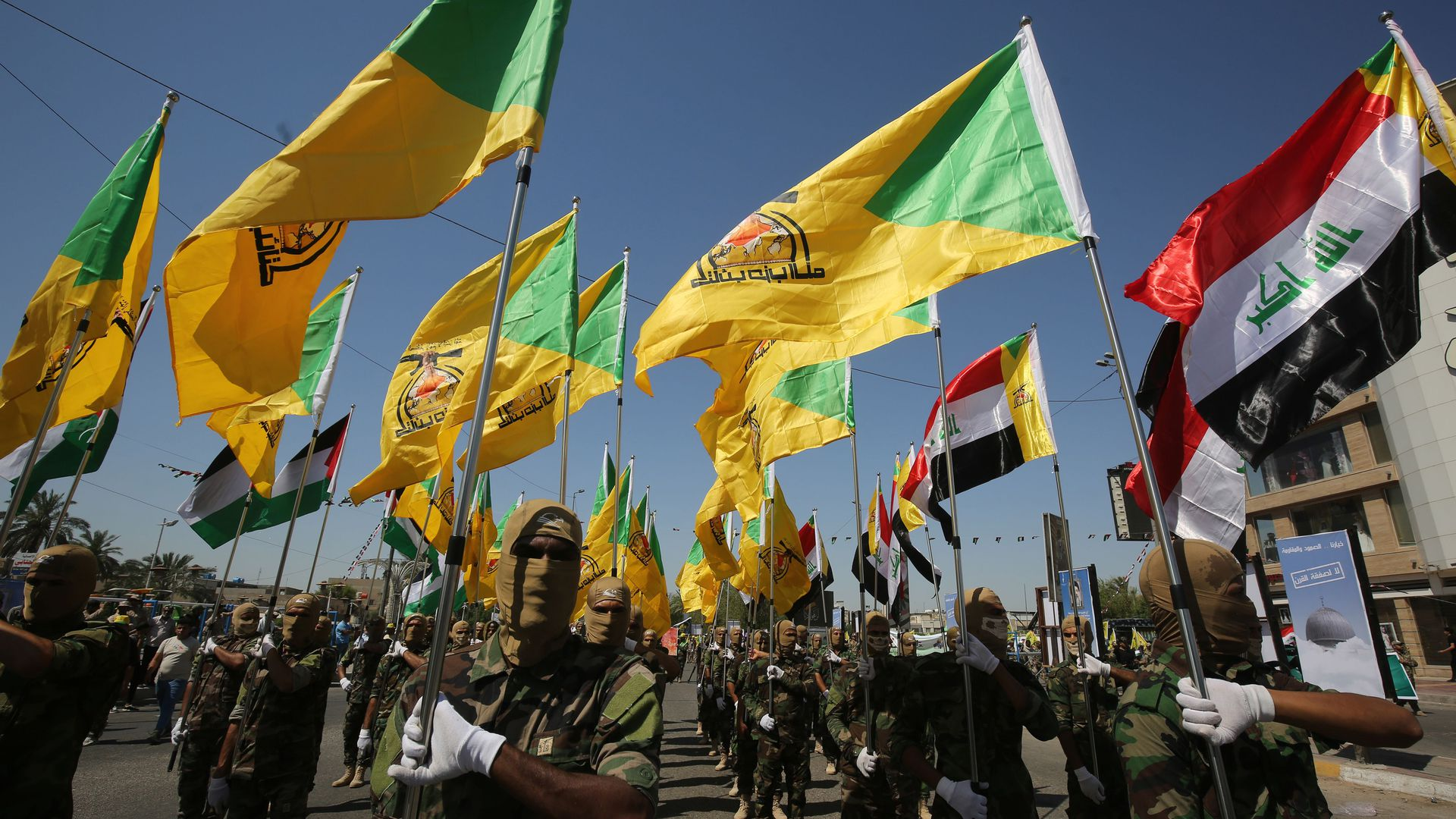 Iraqi Shiite fighters from the Iran-backed armed group Hezbollah