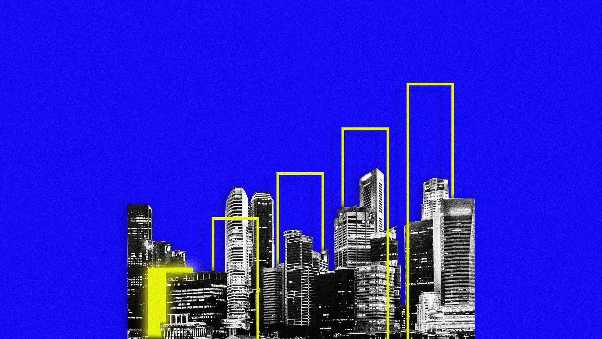 an illustration of a city with cell service bars overlaid