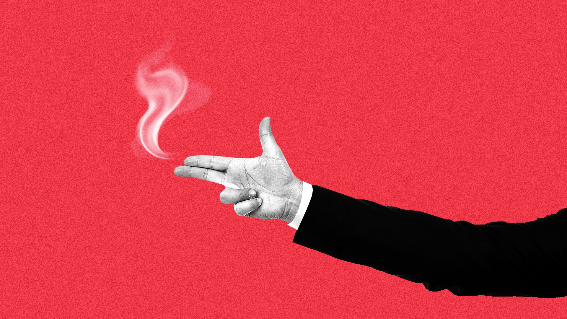 lllustration of an arm in a business suit making a gun sign with smoke coming out of the fingertips