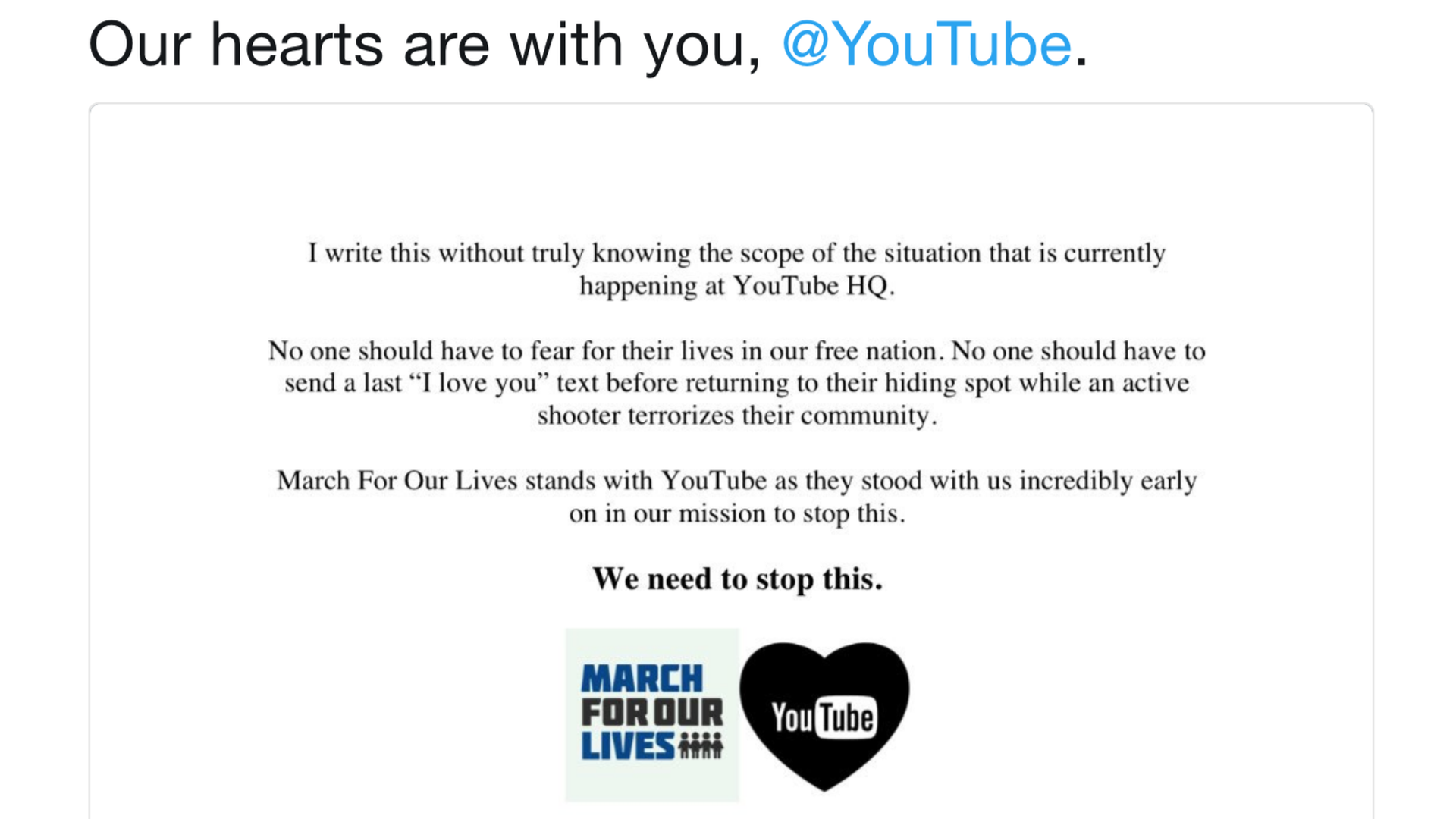 A tweet from March for our Lives organizers showing solidarity after the shooting at YouTube