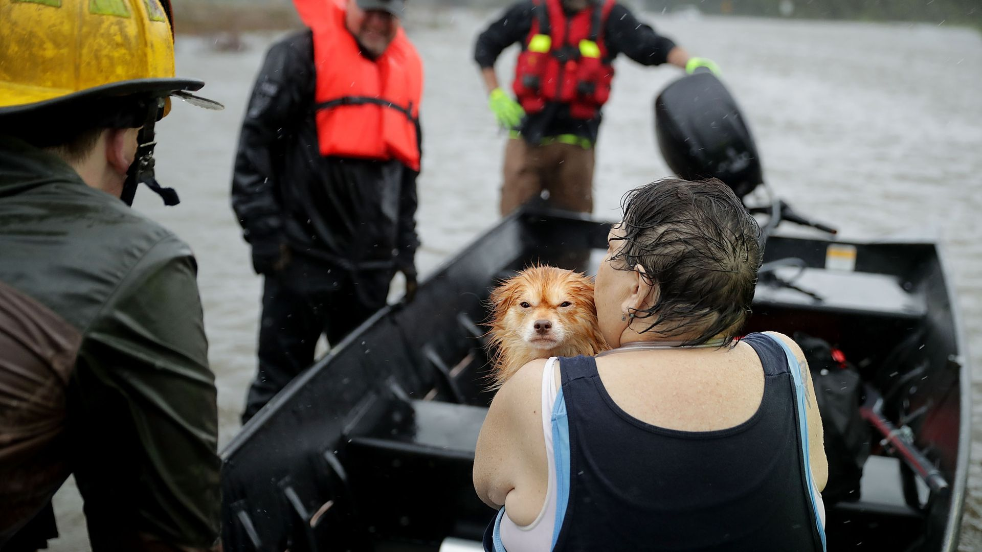 Rescue workers from use a boat to rescue a woman and her dog from their flooded home during Hurricane Florence on September 14, 2018 in James City, North Carolina.