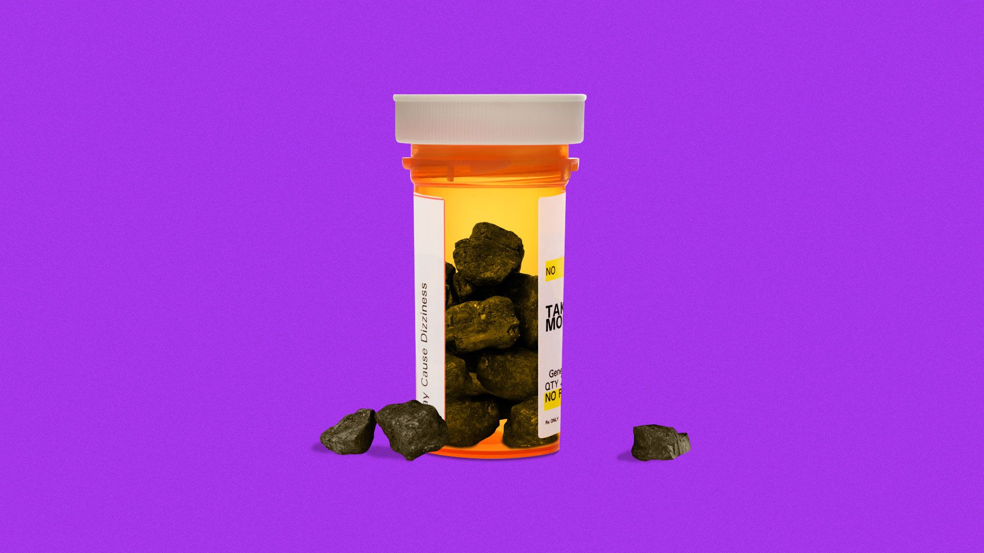 Illustration of lumps of coal in a pill bottle.