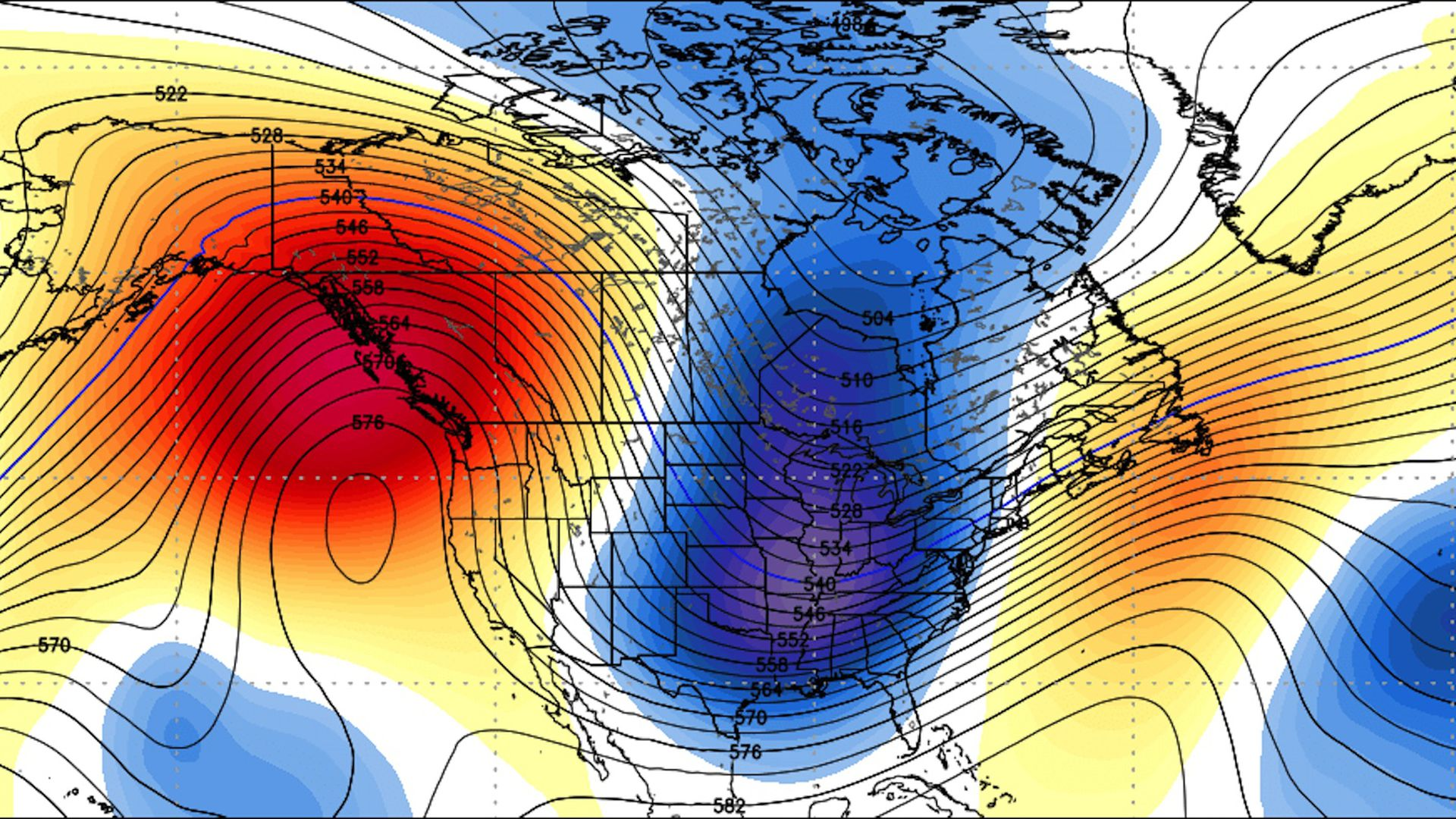 Computer model projection showing a deep trough over the Midwest and East Coast with much colder than average conditions in late January 2019.