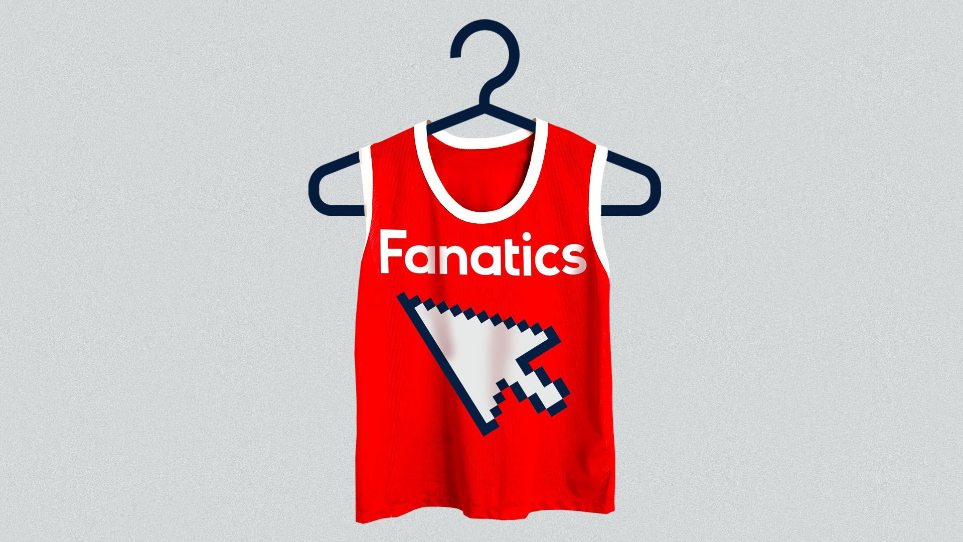 f950b0c62e Illustration of a sports apparel shirt with the Fanatics logo and a cursor  on it