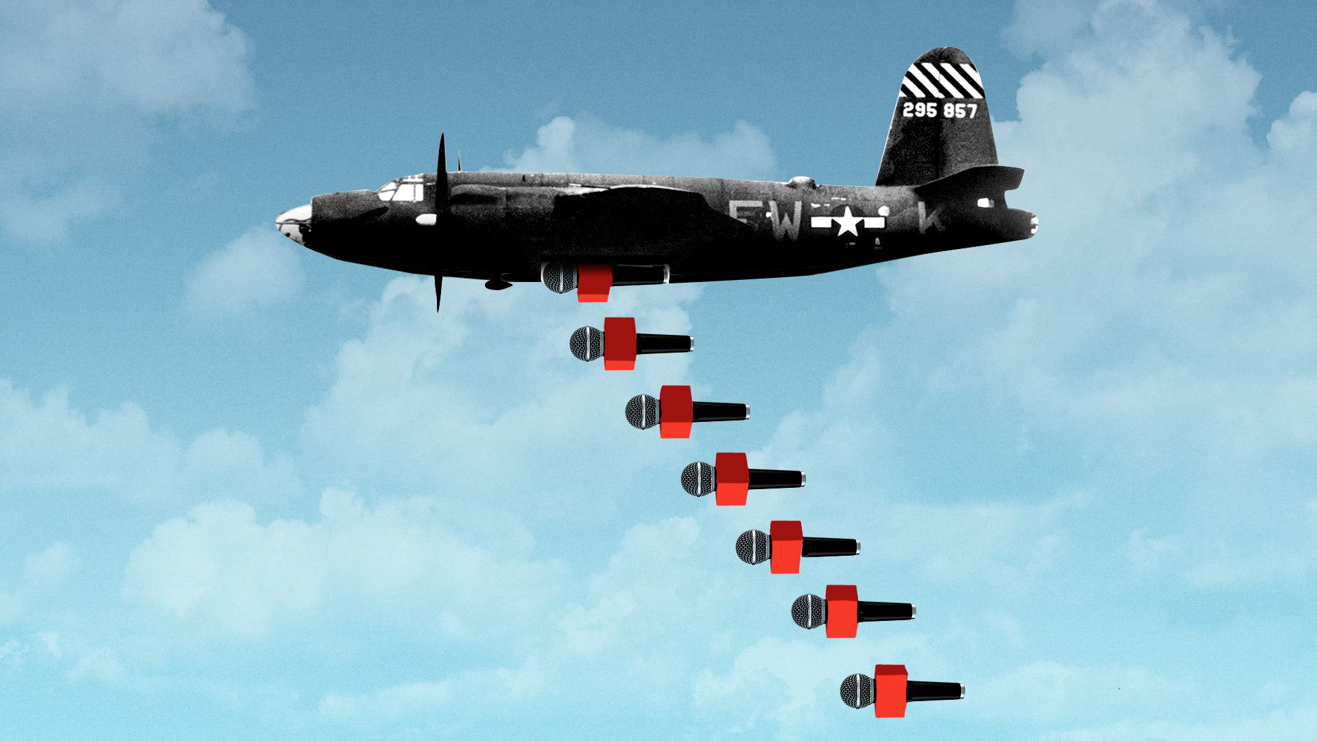 Illustration of a bomber plane with TV microphones falling out of the bomb hatch