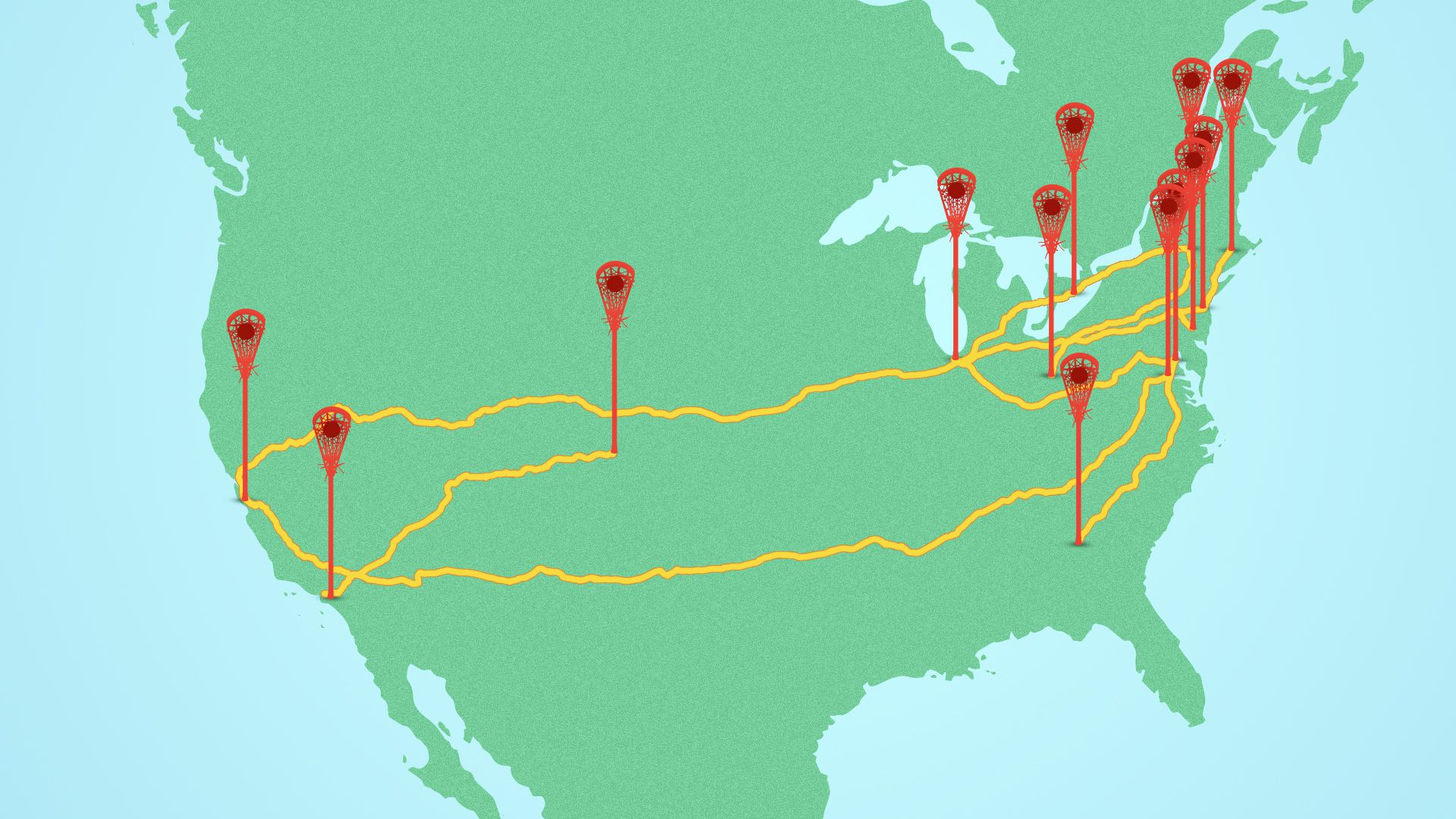 Illustration of a map of the USA and Canada, with pinpoints shaped like crosses along the route taken by the PLL