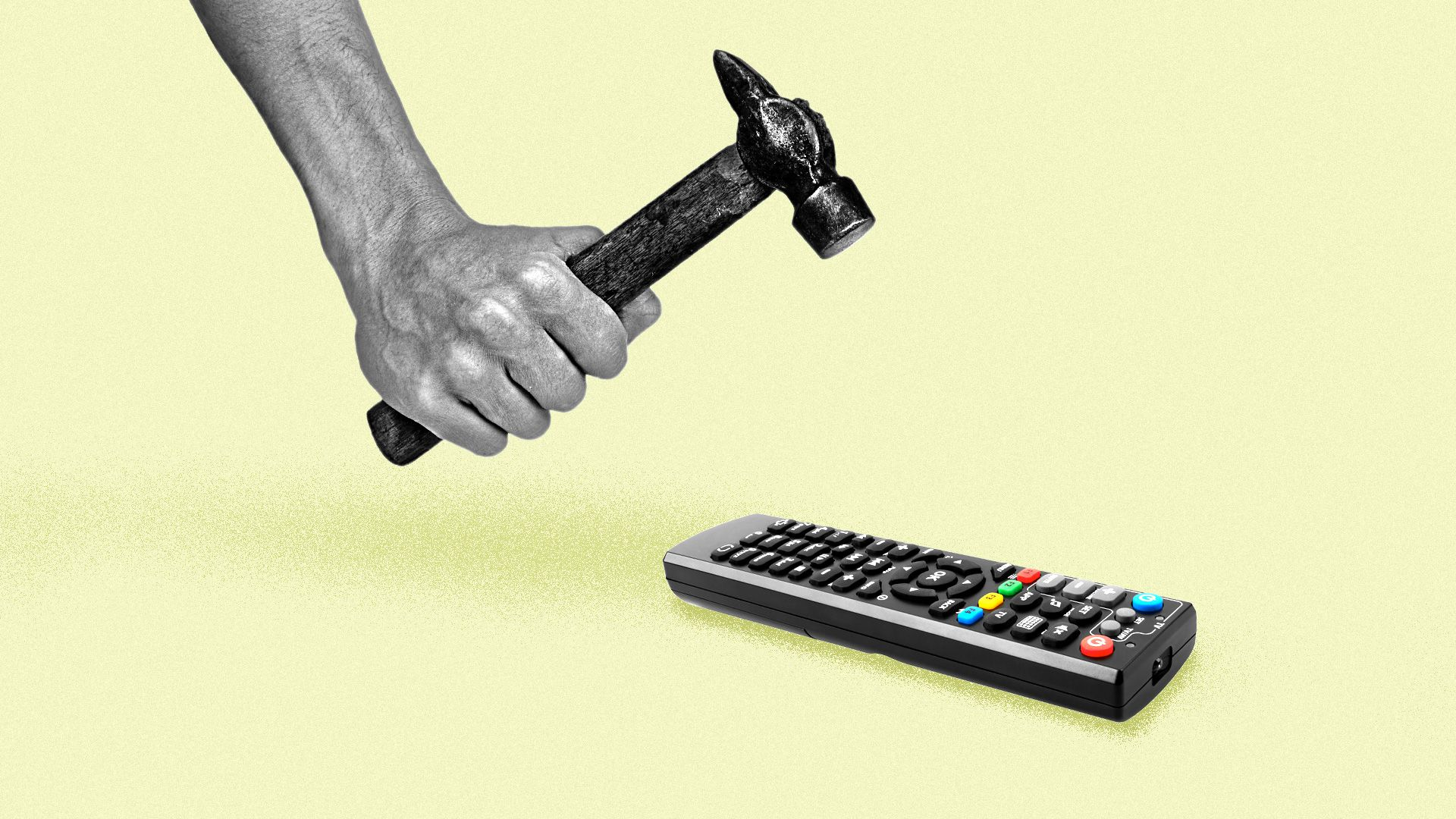 A hand with a hammer about to crush a tv remote
