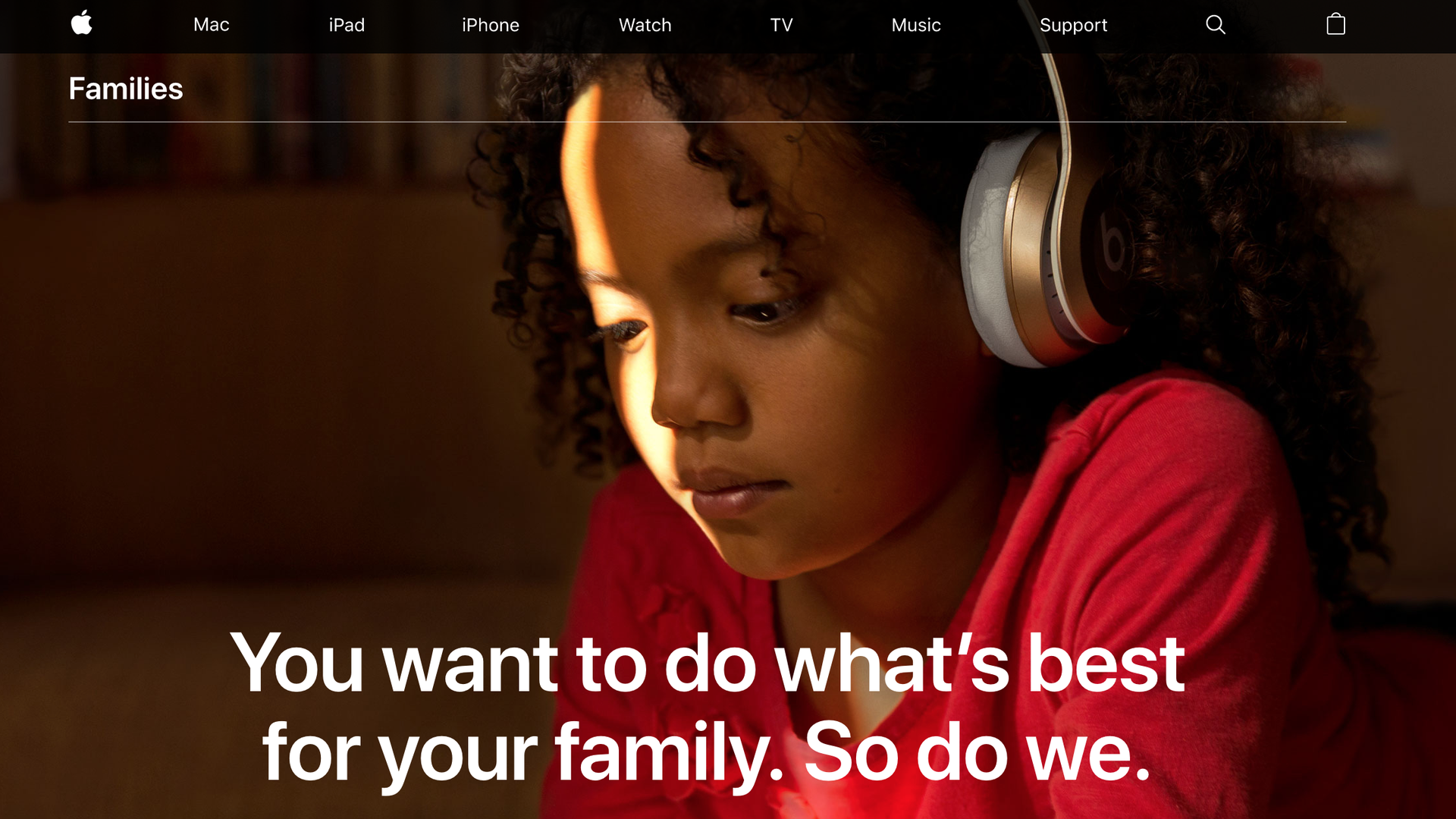 Apple's page for families