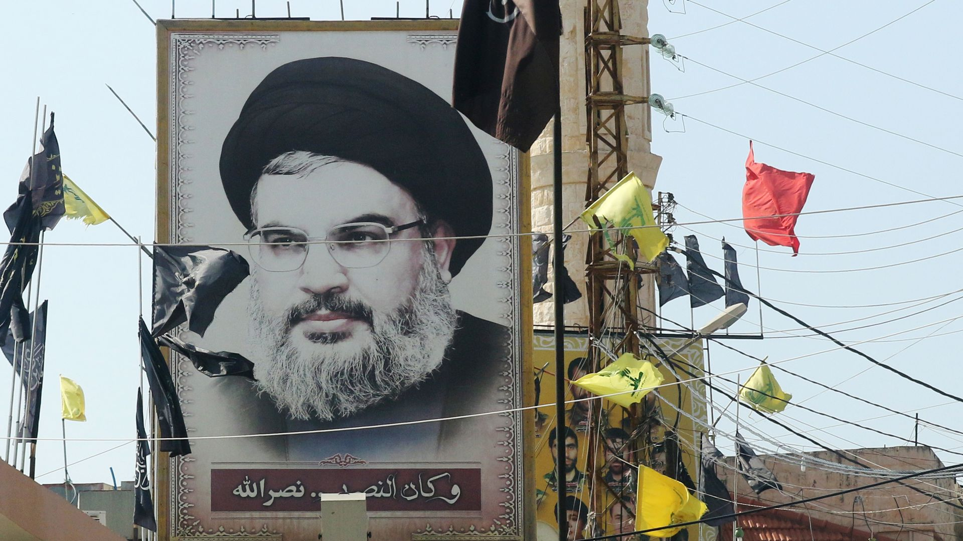 A portrait of the head of the Lebanese Shiite movement Hezbollah, Hasan Nasrallah