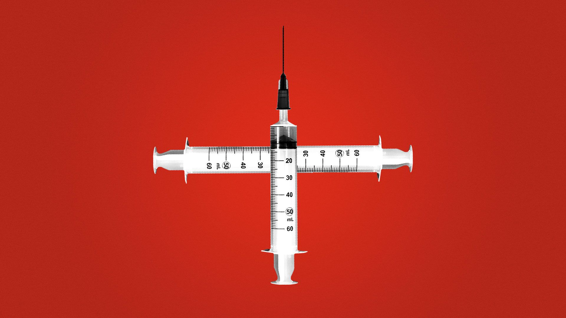 Illustration of syringes forming a health plus/cross
