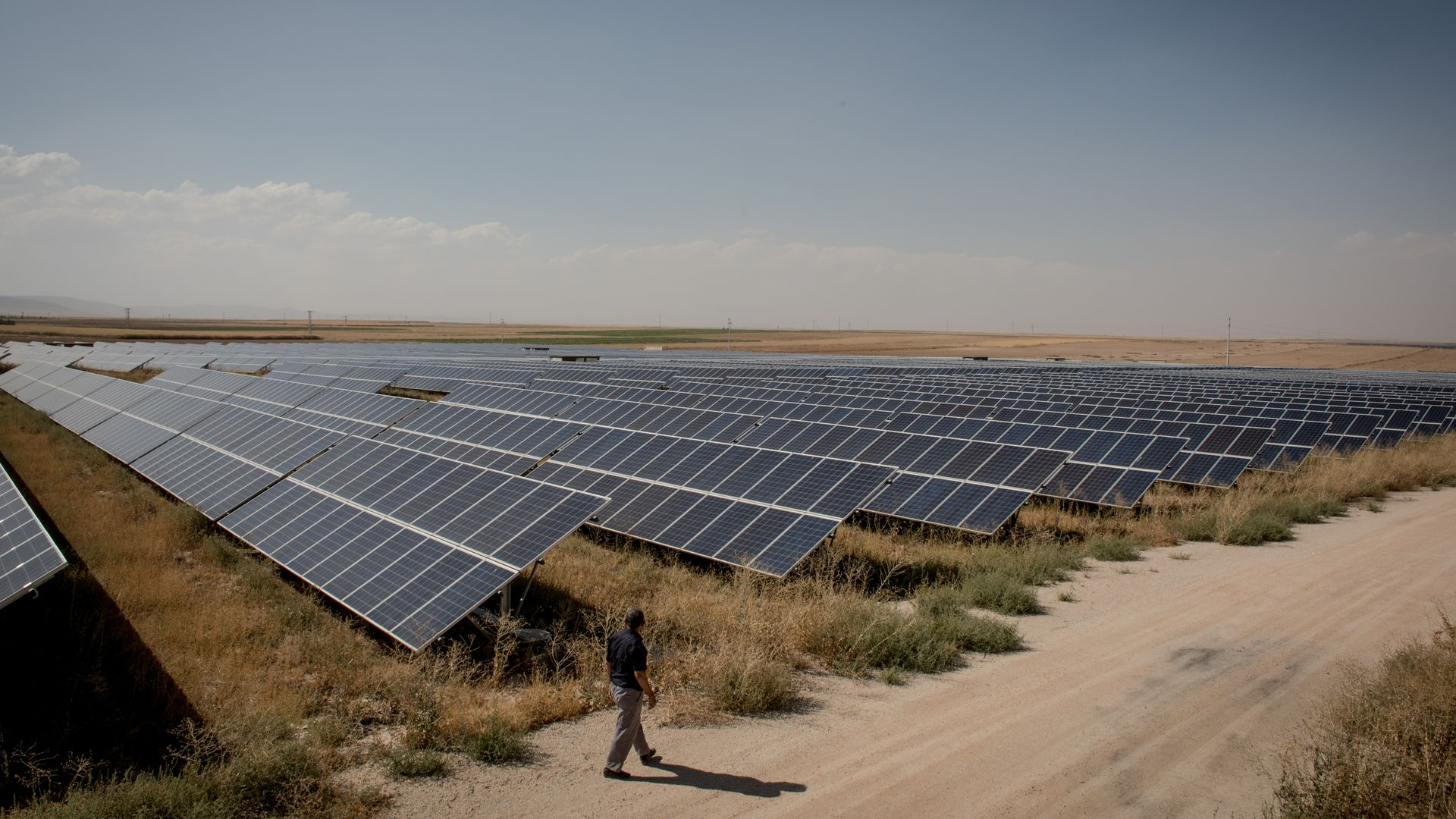 A person walks by solar panels in a field.