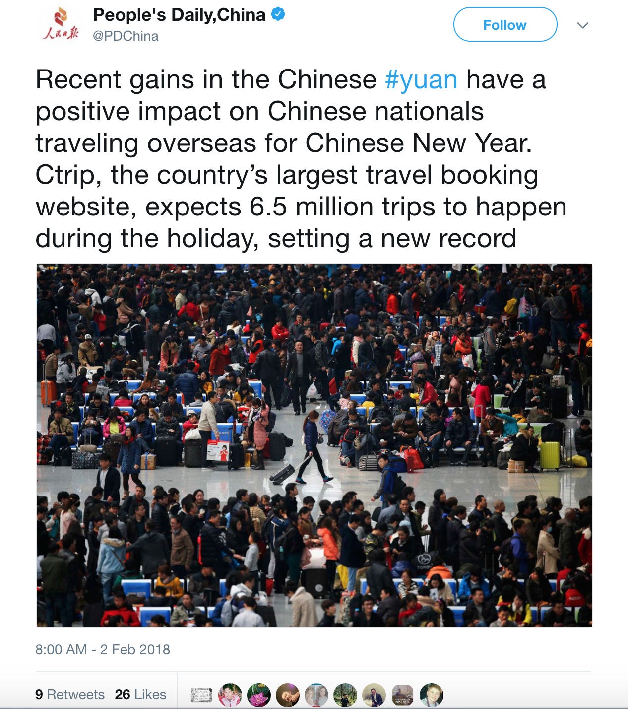 Screenshot of People's Daily tweet showing traveling Chinese nationals