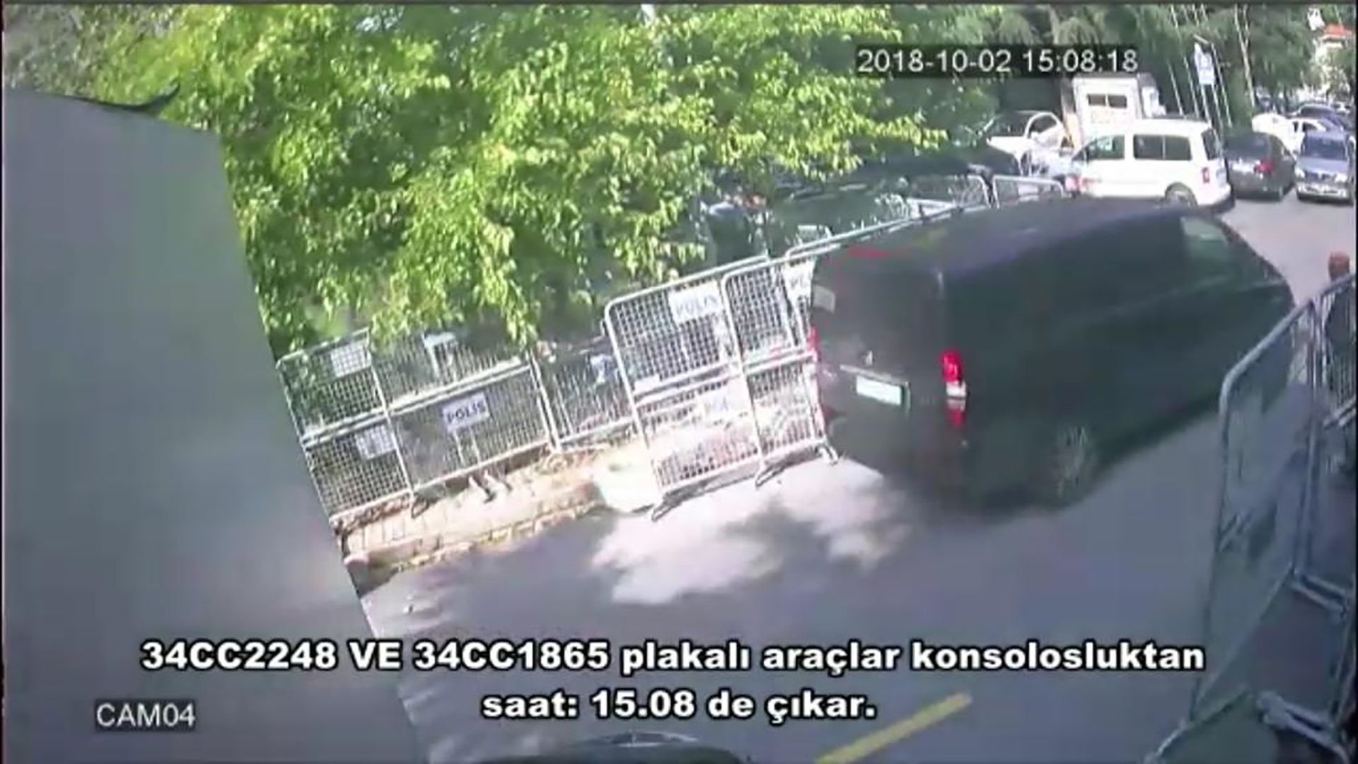A police CCTV video allegedly shows a black van in front of the Saudi consulate in Istanbul on October 2 when journalist Jamal Khashoggi gone missing. Photo: Sabah Newspaper/AFP/Getty Images