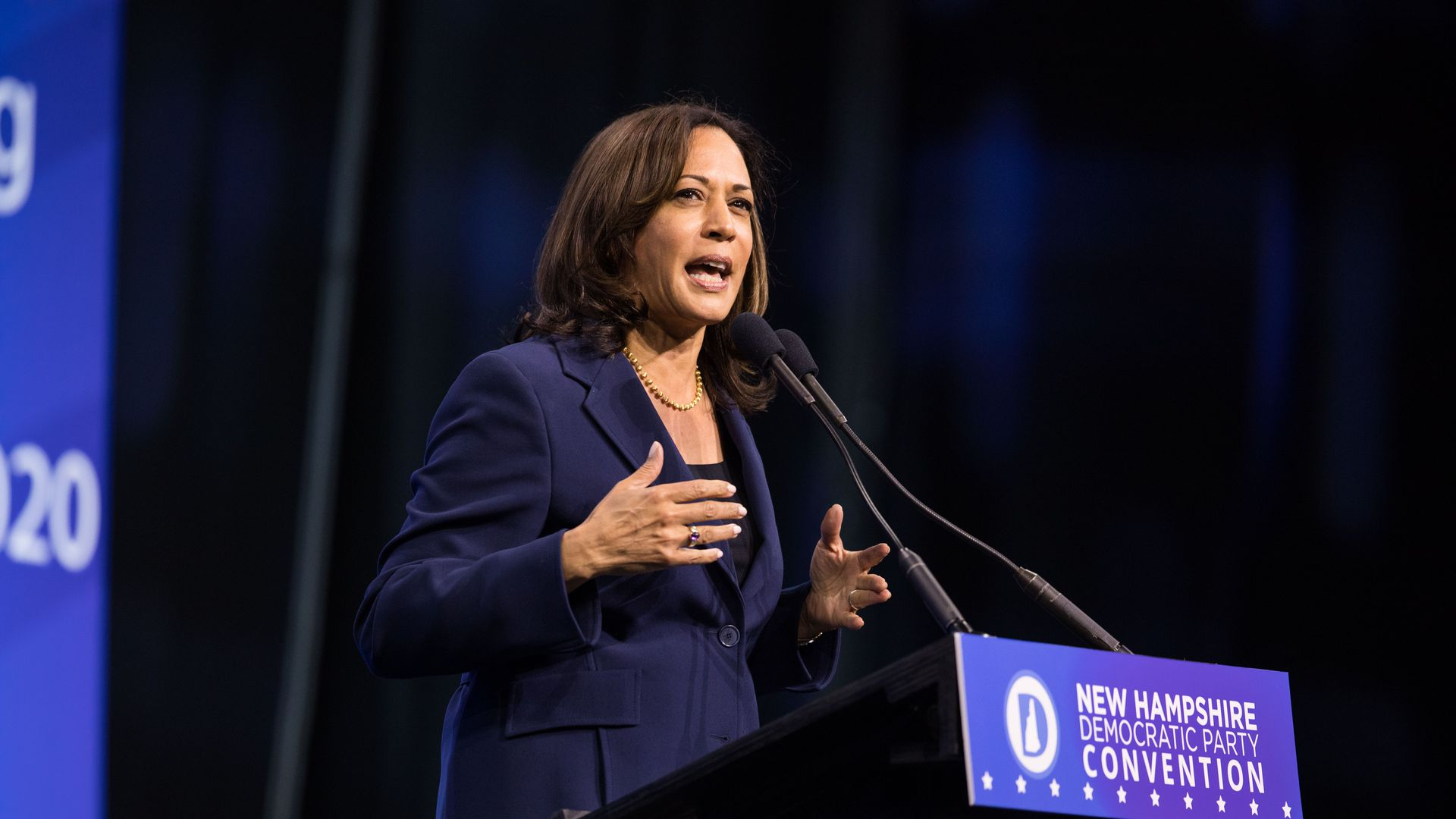Democratic presidential candidate, Sen. Kamala Harris (D-CA) speaks during the New Hampshire Democratic Party Convention at the SNHU Arena on September 7