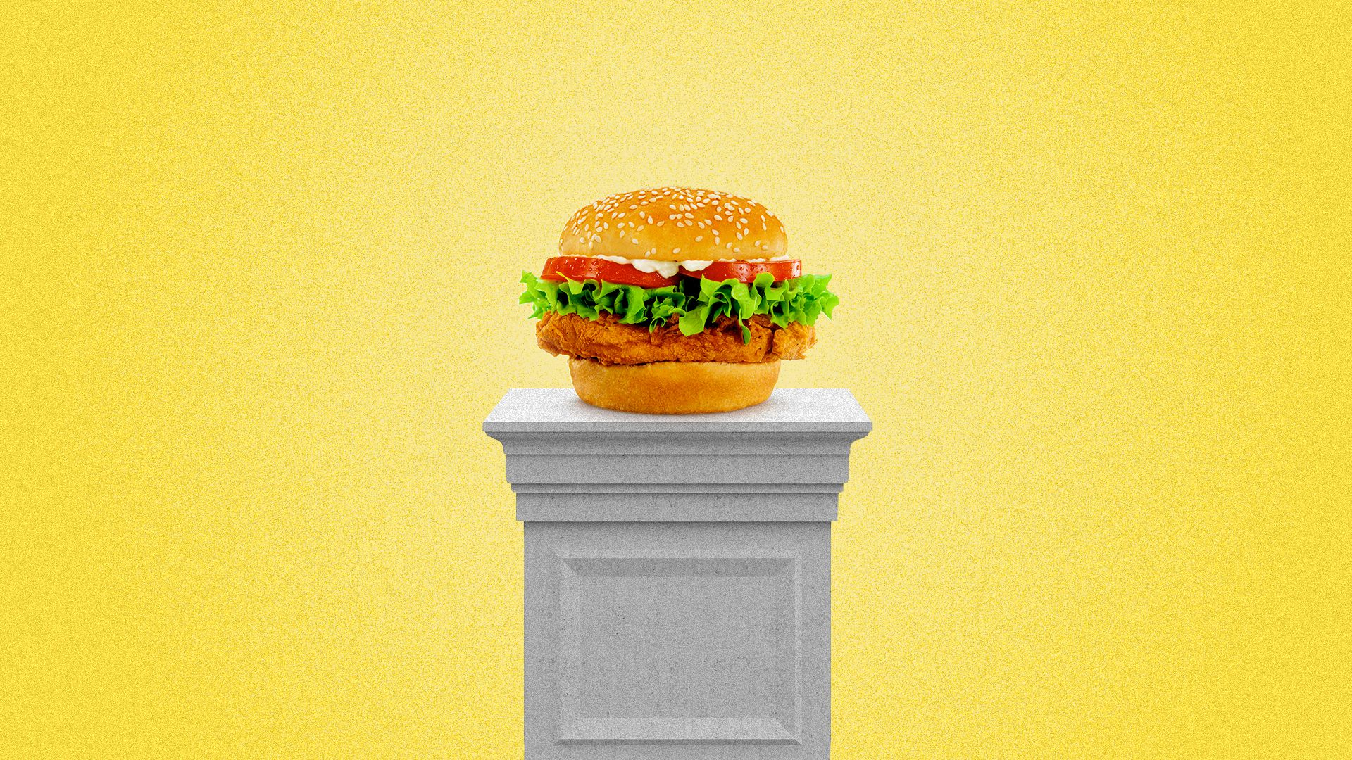 Illustration of a chicken sandwich illuminated on a pedestal.