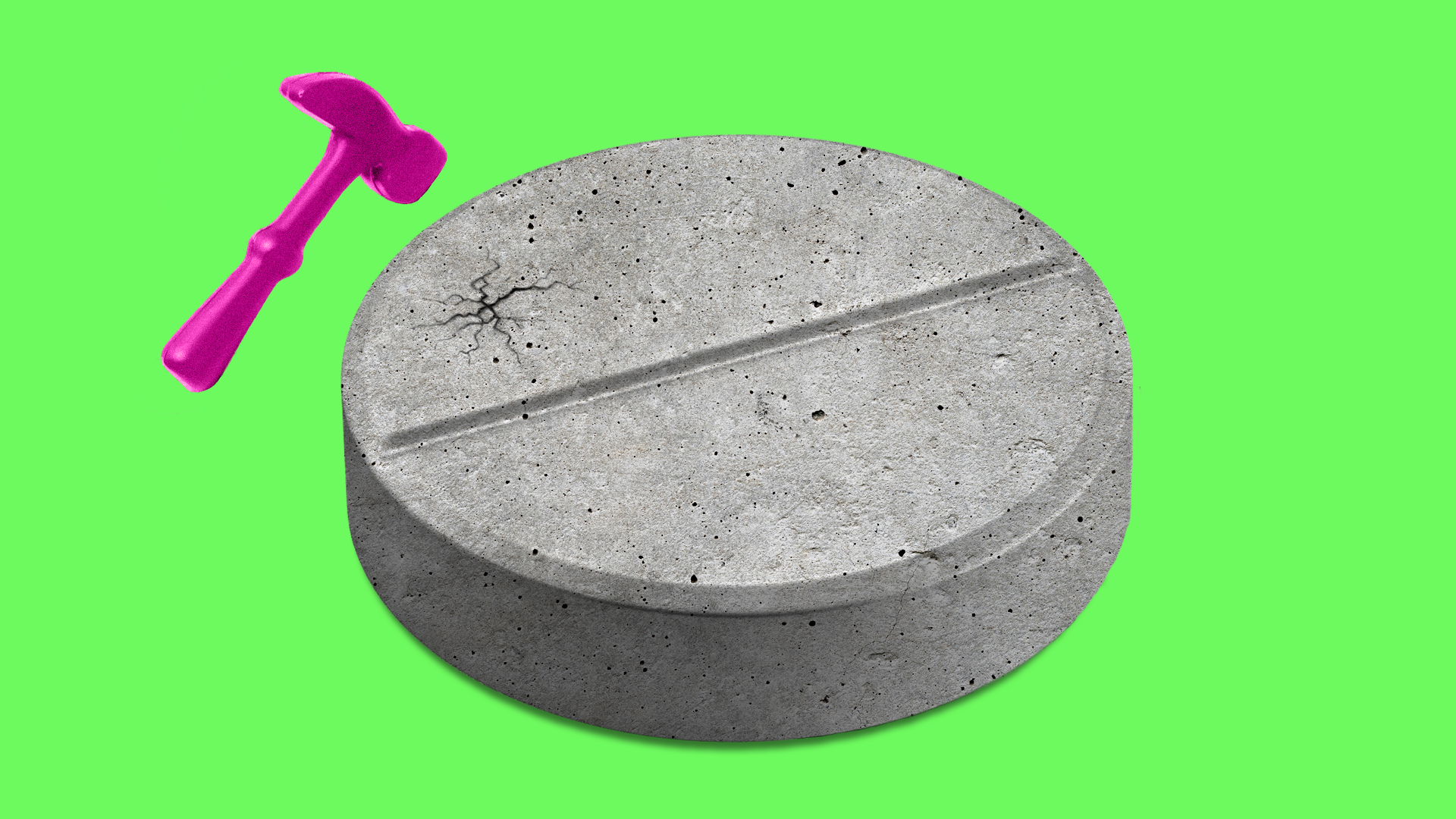 An illustration of a hammer cracking a concrete pill.