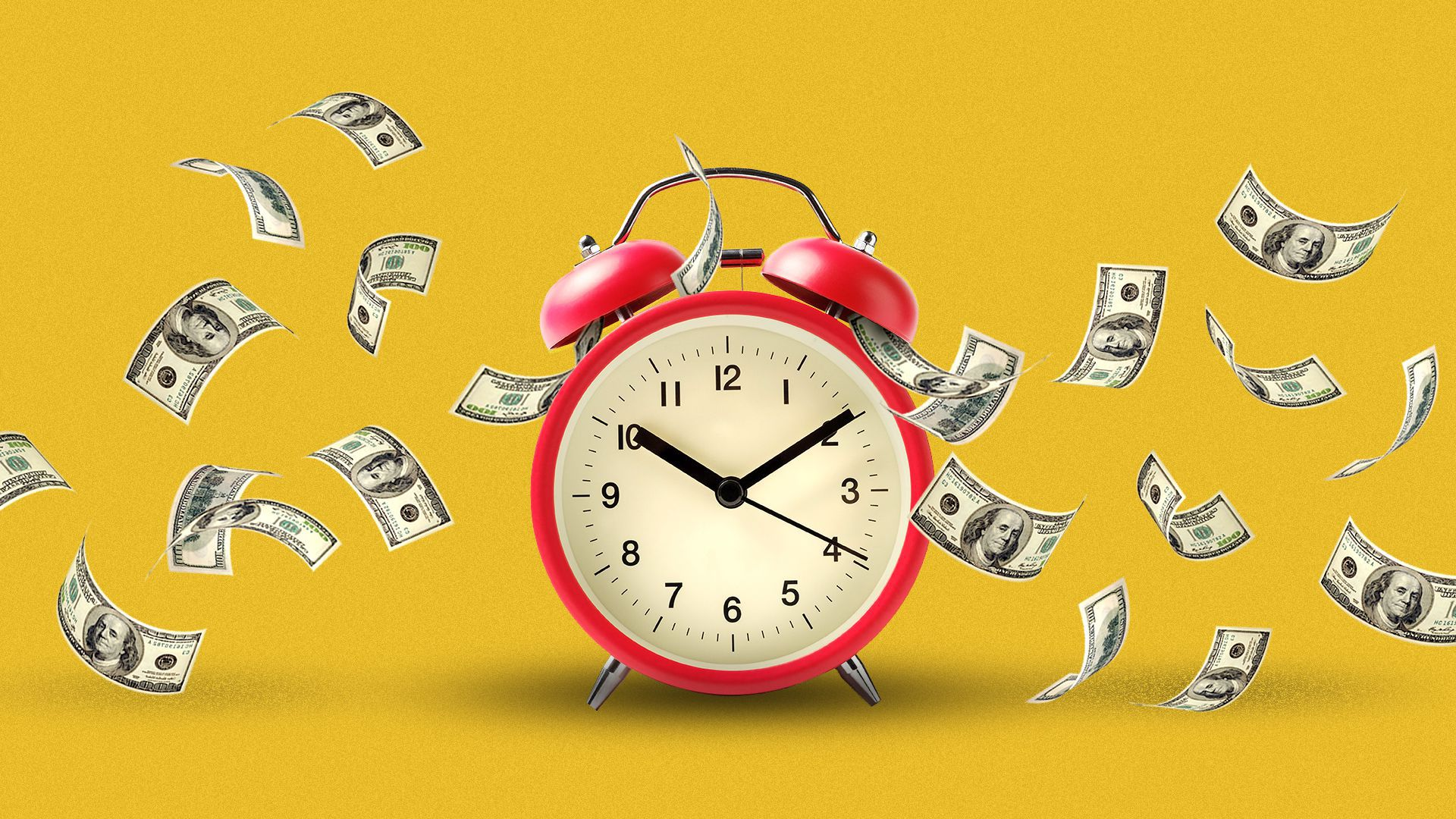 Illustration of an alarm clock with money spilling out as it is ringing.
