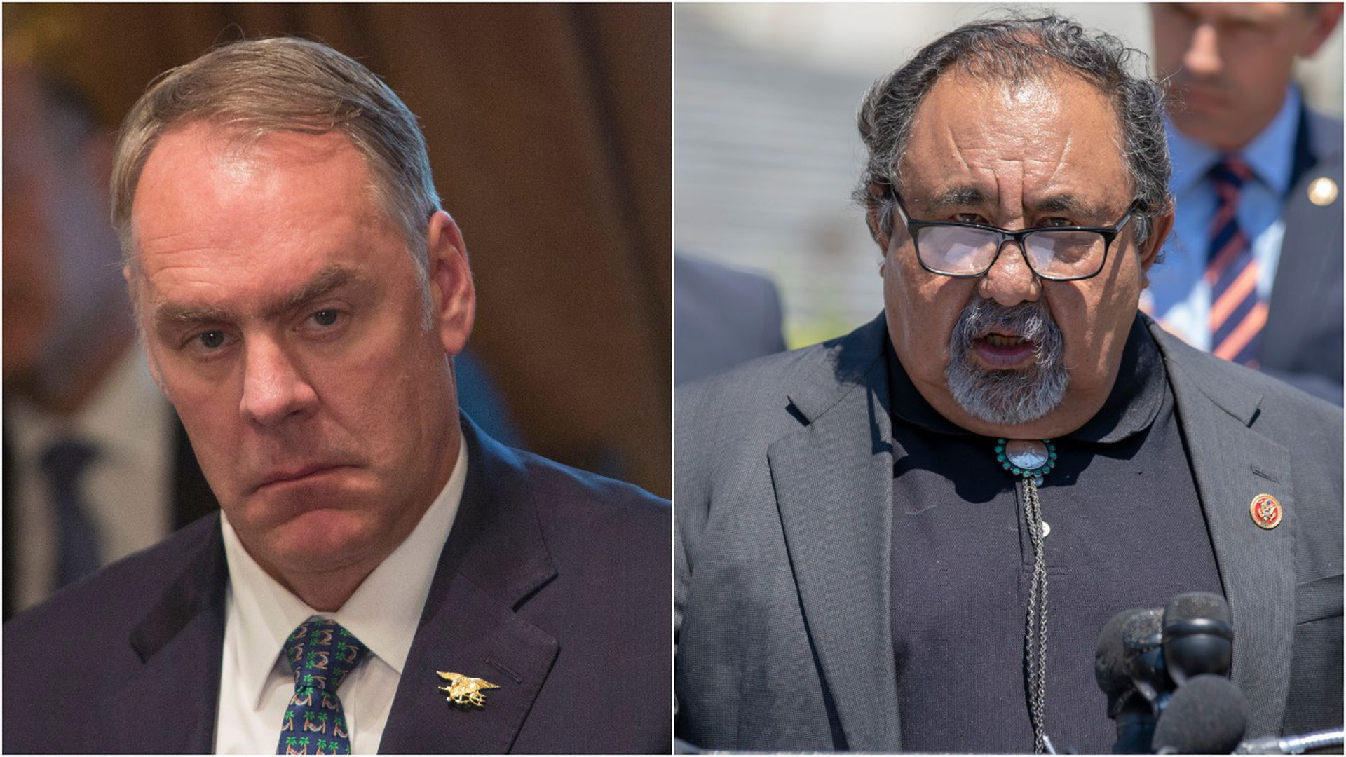 Split picture of Interior Secretary Ryan Zinke on the left and Rep. Raúl Grijalva on the right