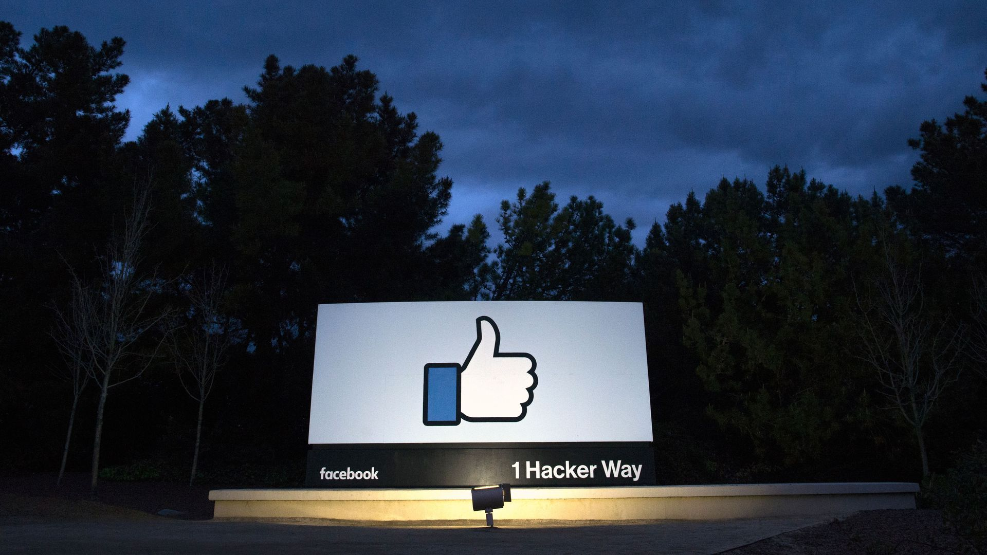 "Facebook ""like"" on signage at HQ"