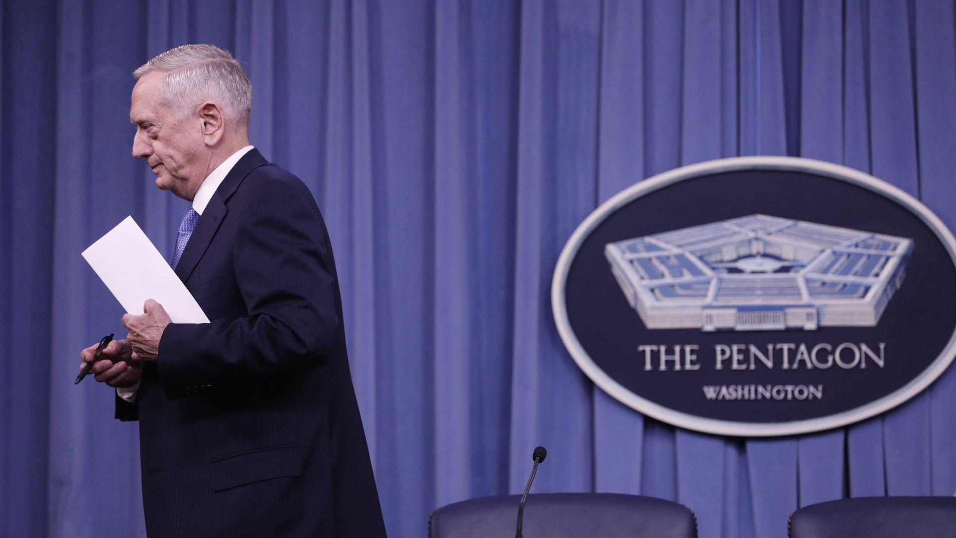 James Mattis leaving the podium at the Pentagon