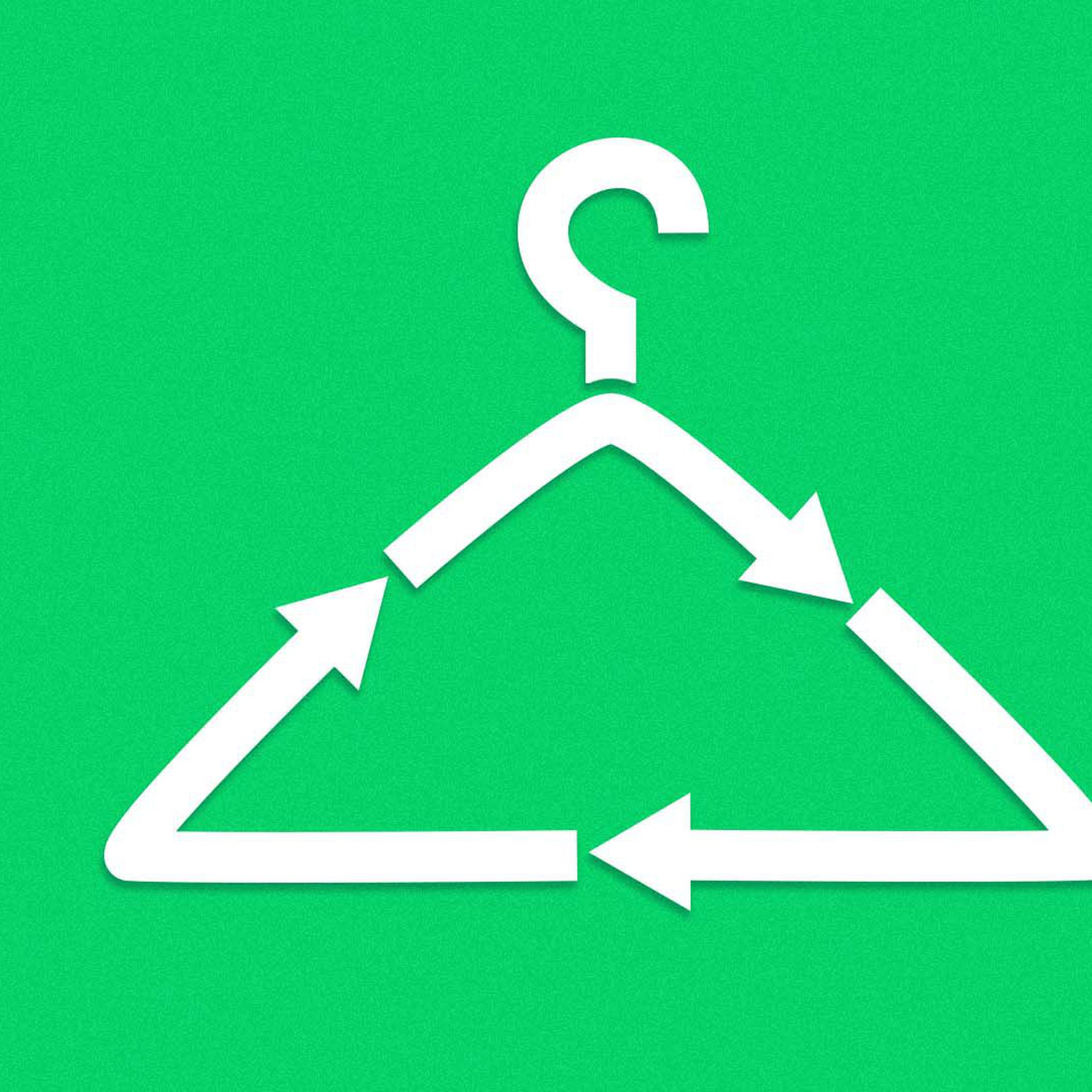 An illustration of a hanger shaped like a recycling sign.