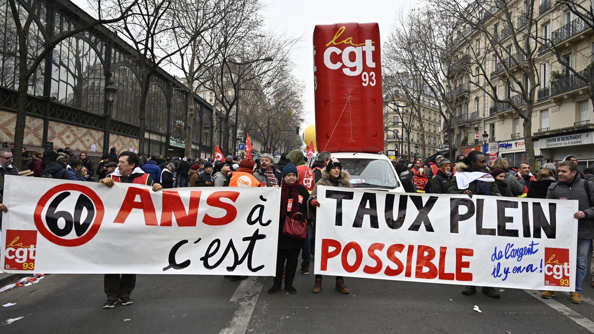 People demonstrating during France's general strike