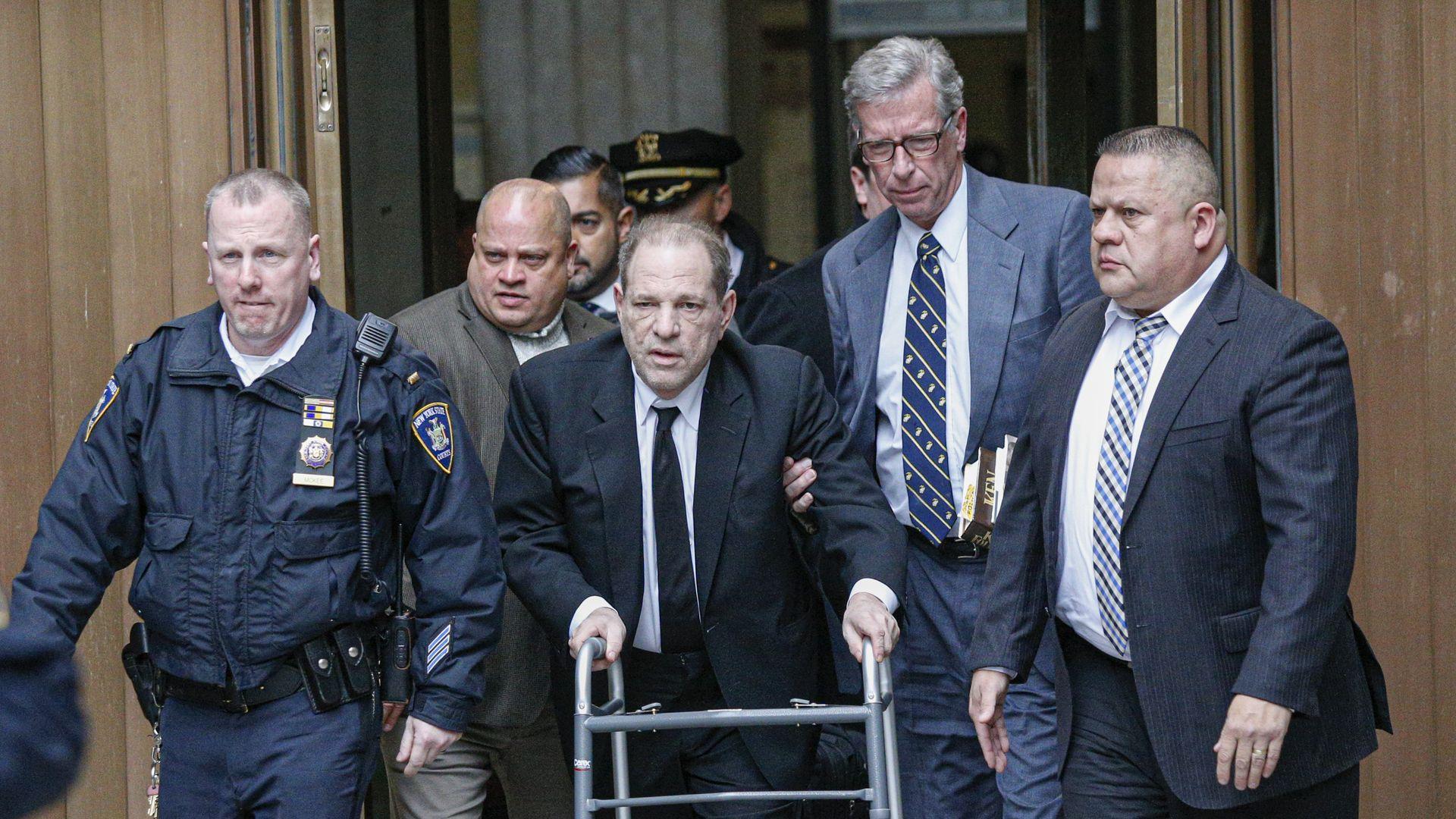 Harvey Weinstein leaving court