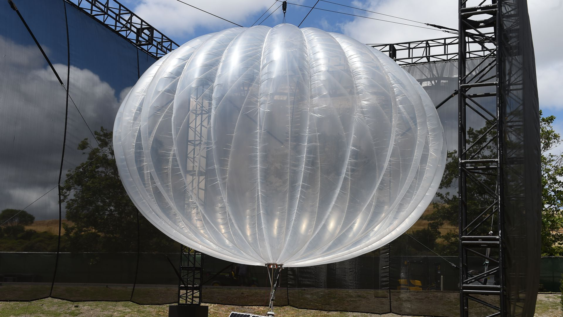 This image shows a large clear balloon from the Loon project.