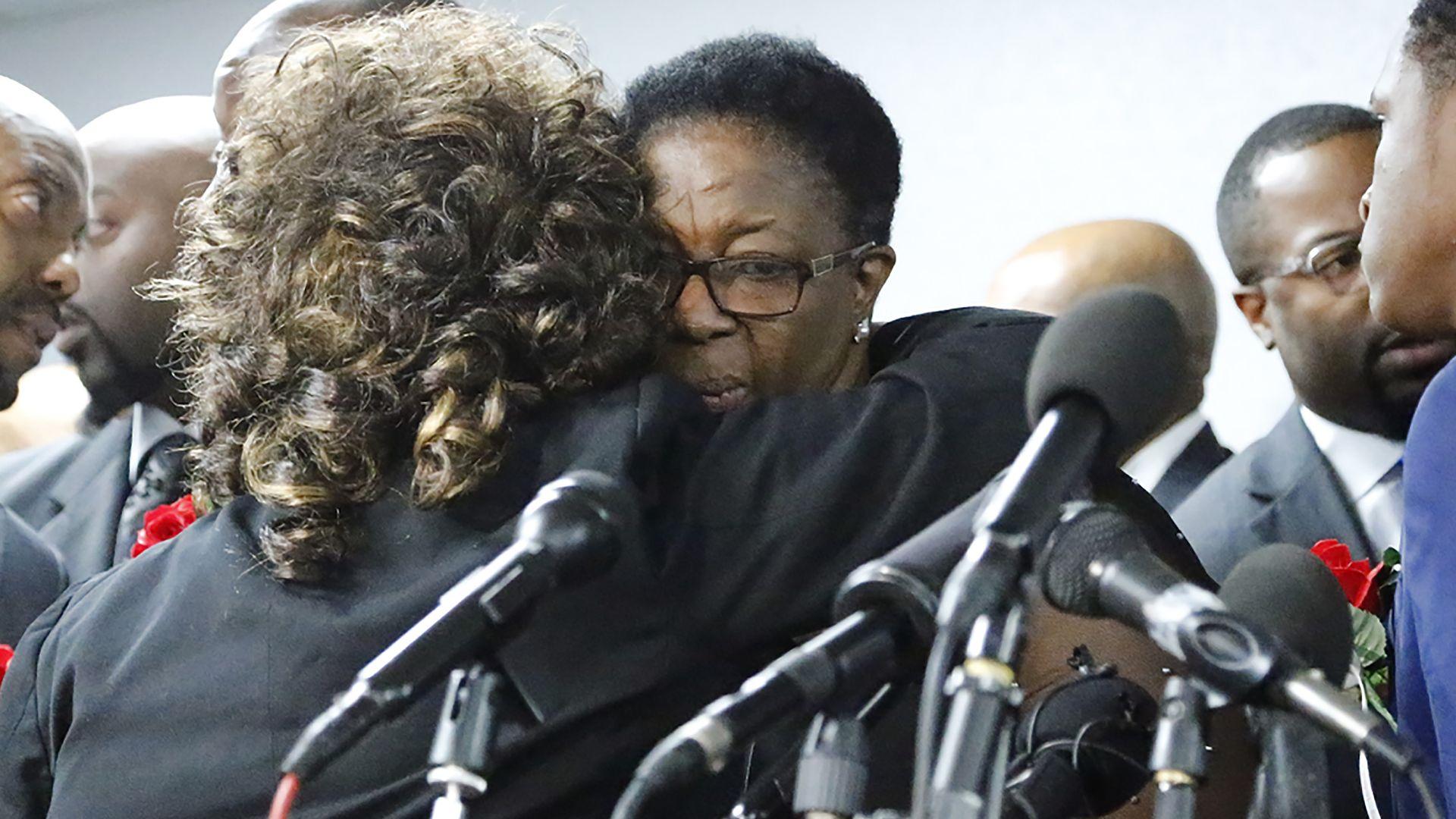 Allison Jean, mother of Botham Shem Jaen, at a press conference.