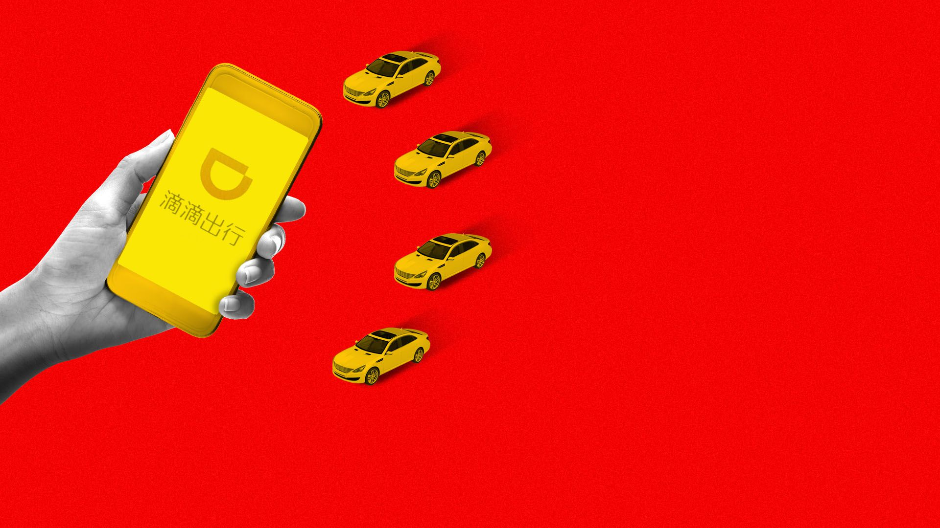 Illustration of a hand holding a cellphone with the Didi Chuxing ap hailing a small fleet of cars, all in the shape of the Chinese flag