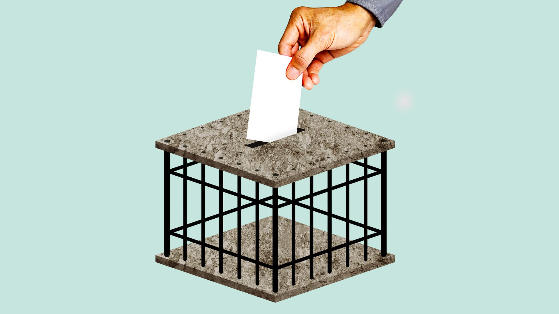 A ballot being cast in a ballot box shaped like a jail cell