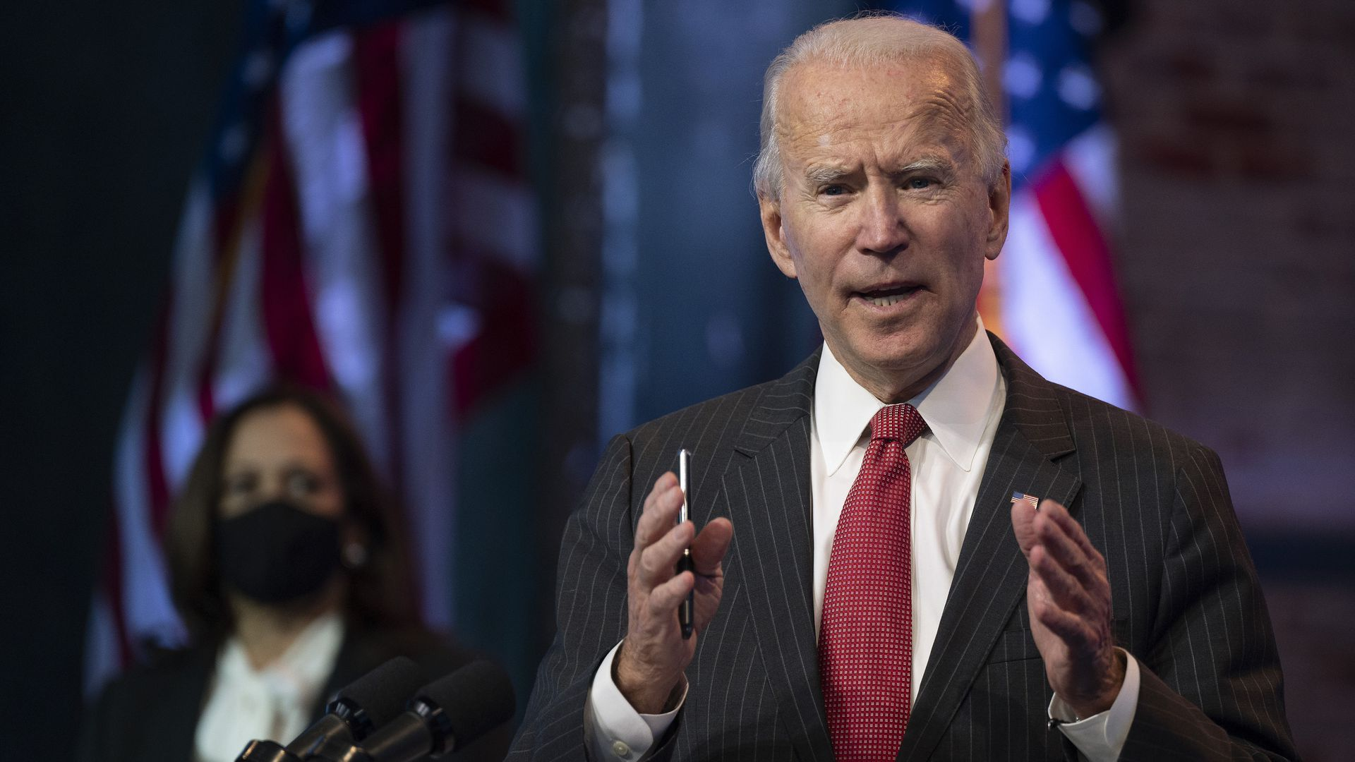 President-elect Joe Biden uses his hands for emphasis as he makes remarks
