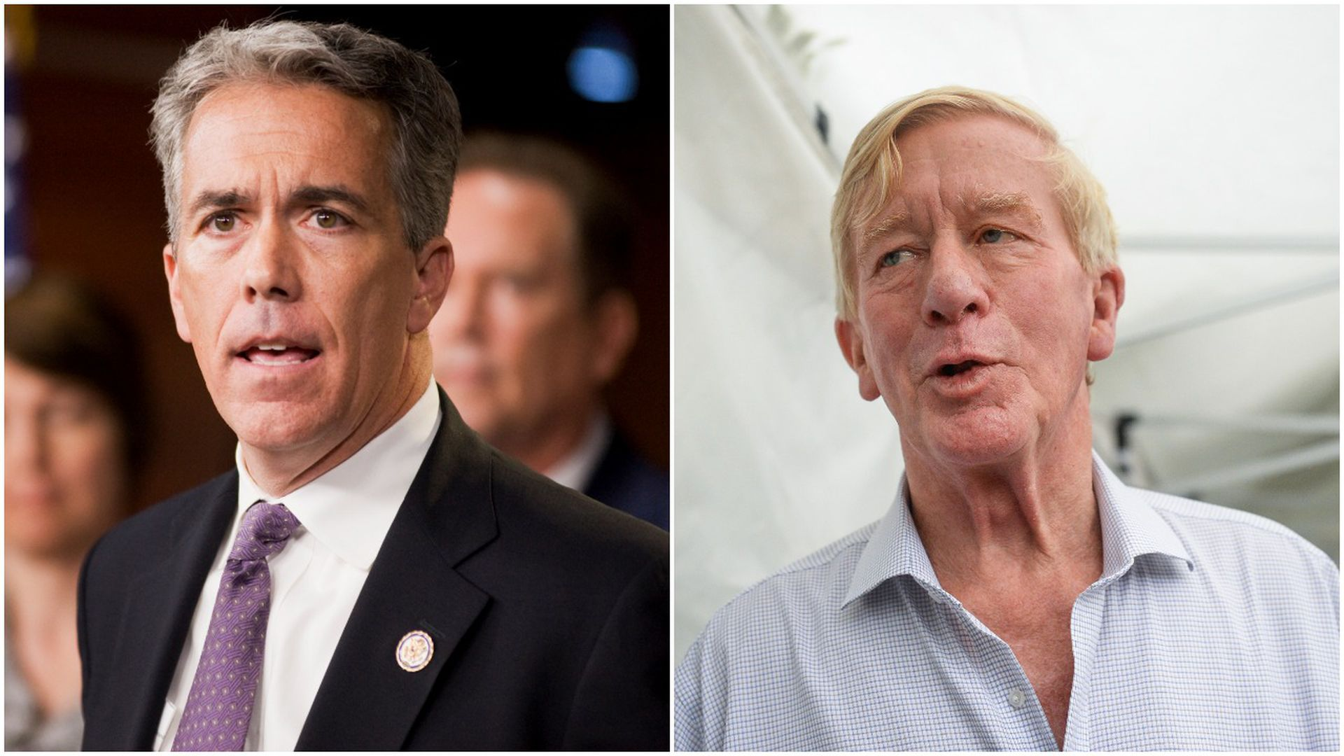 This image is a two-way split screen of Joe Walsh and Bill Weld.