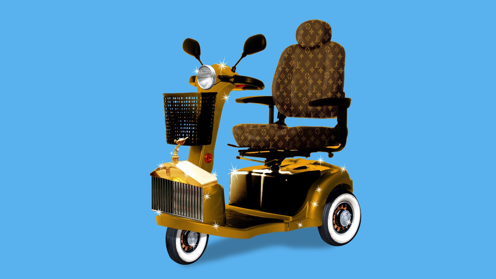 A motorized cart that is gold and really spiffy.
