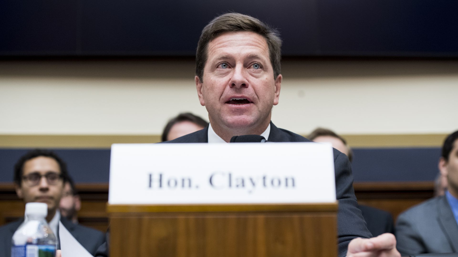 SEC chairman Jay Clayton testifying in front of Congress.