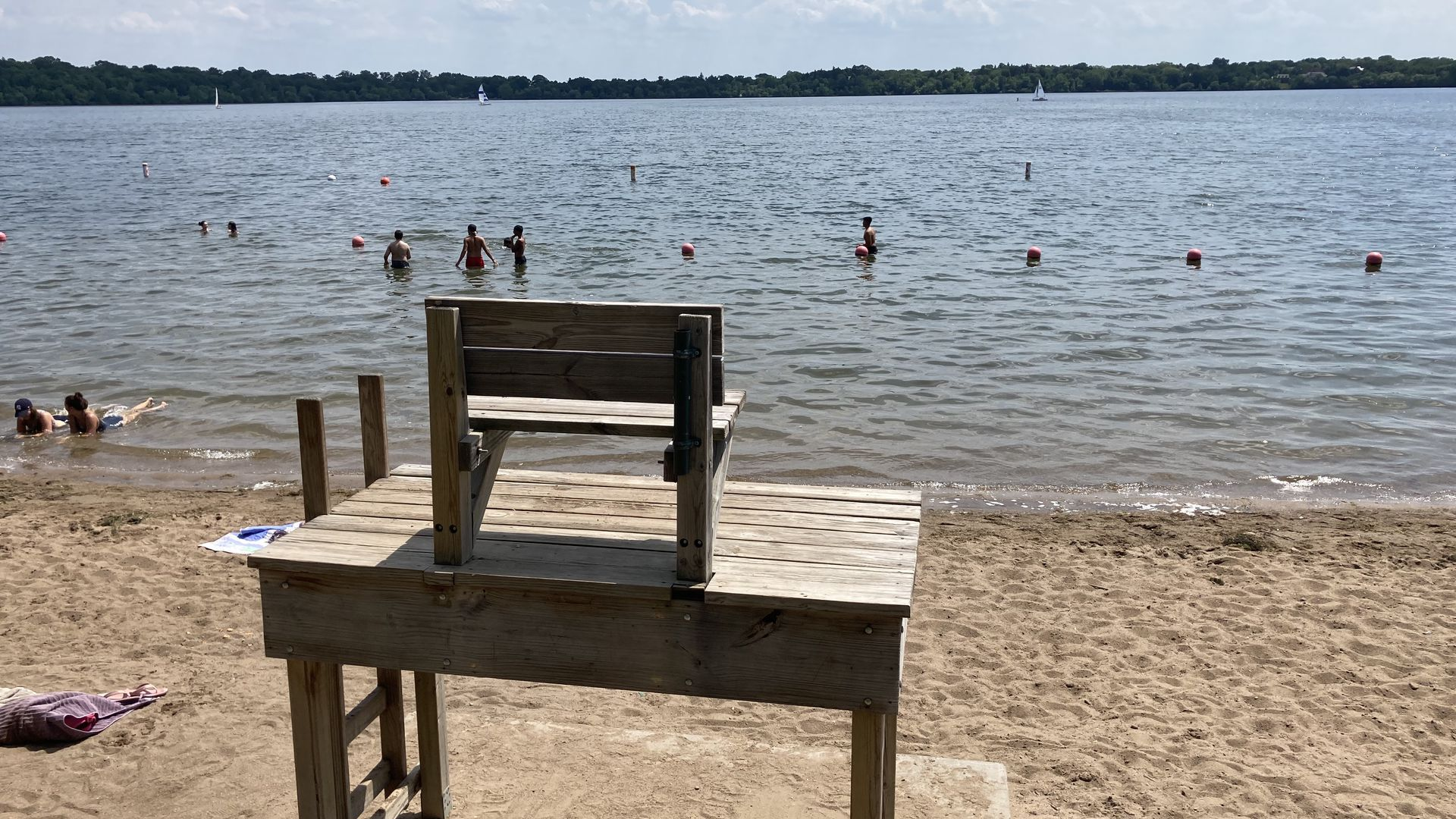 An empty lifeguard chair at Lake Harriet in Minneapolis.