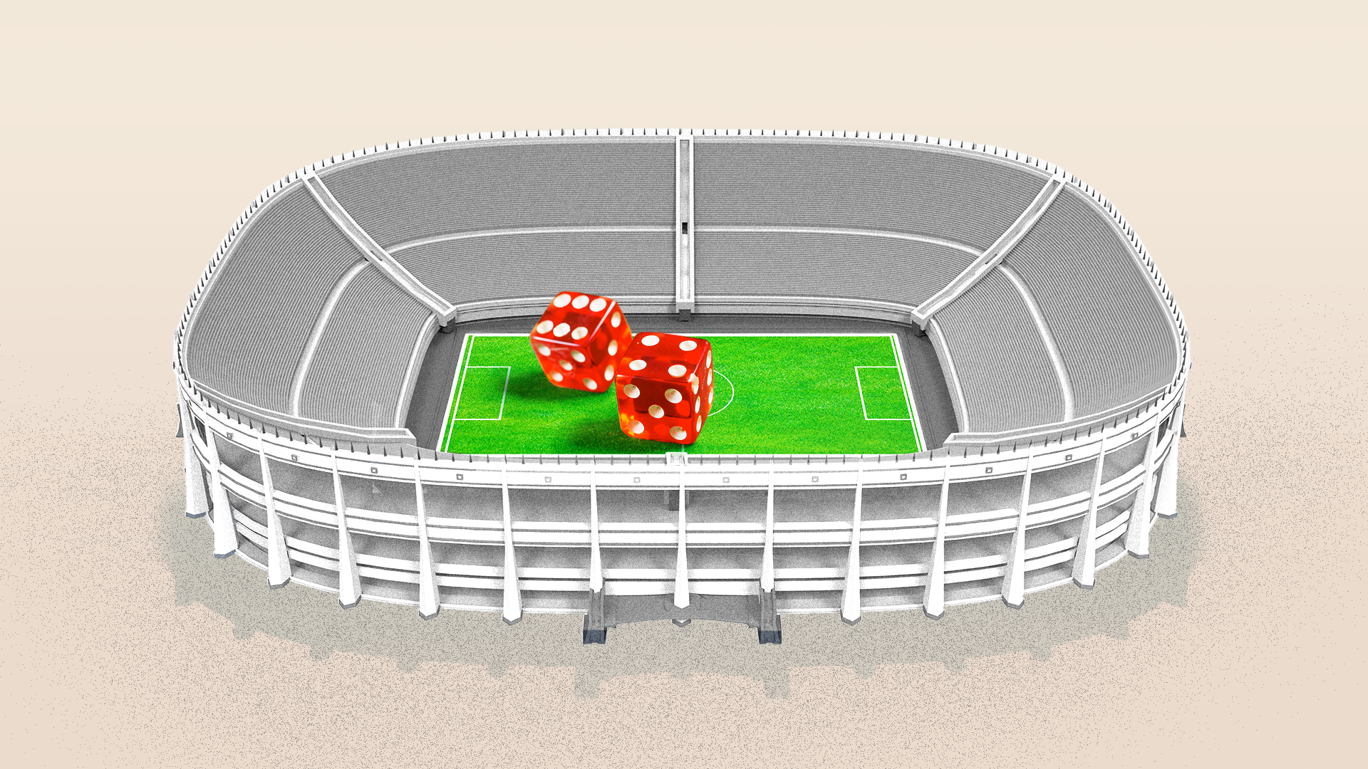 In this illustration, a pair of giant red dice sit on the green turf of a small stadium.