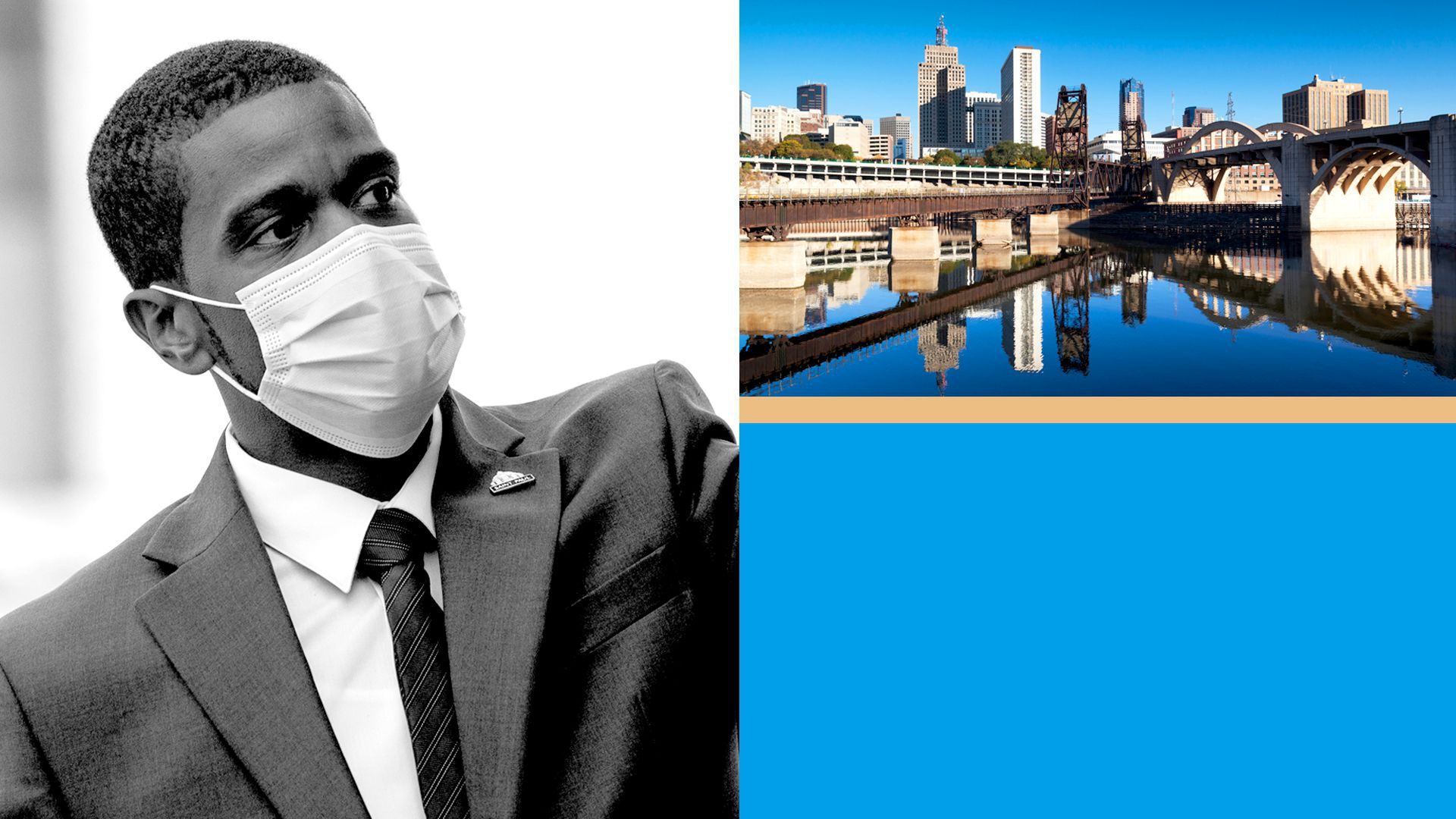 Photo illustration of a collage of St. Paul Mayor Melvin Carter, with St. Paul and blocks of color.
