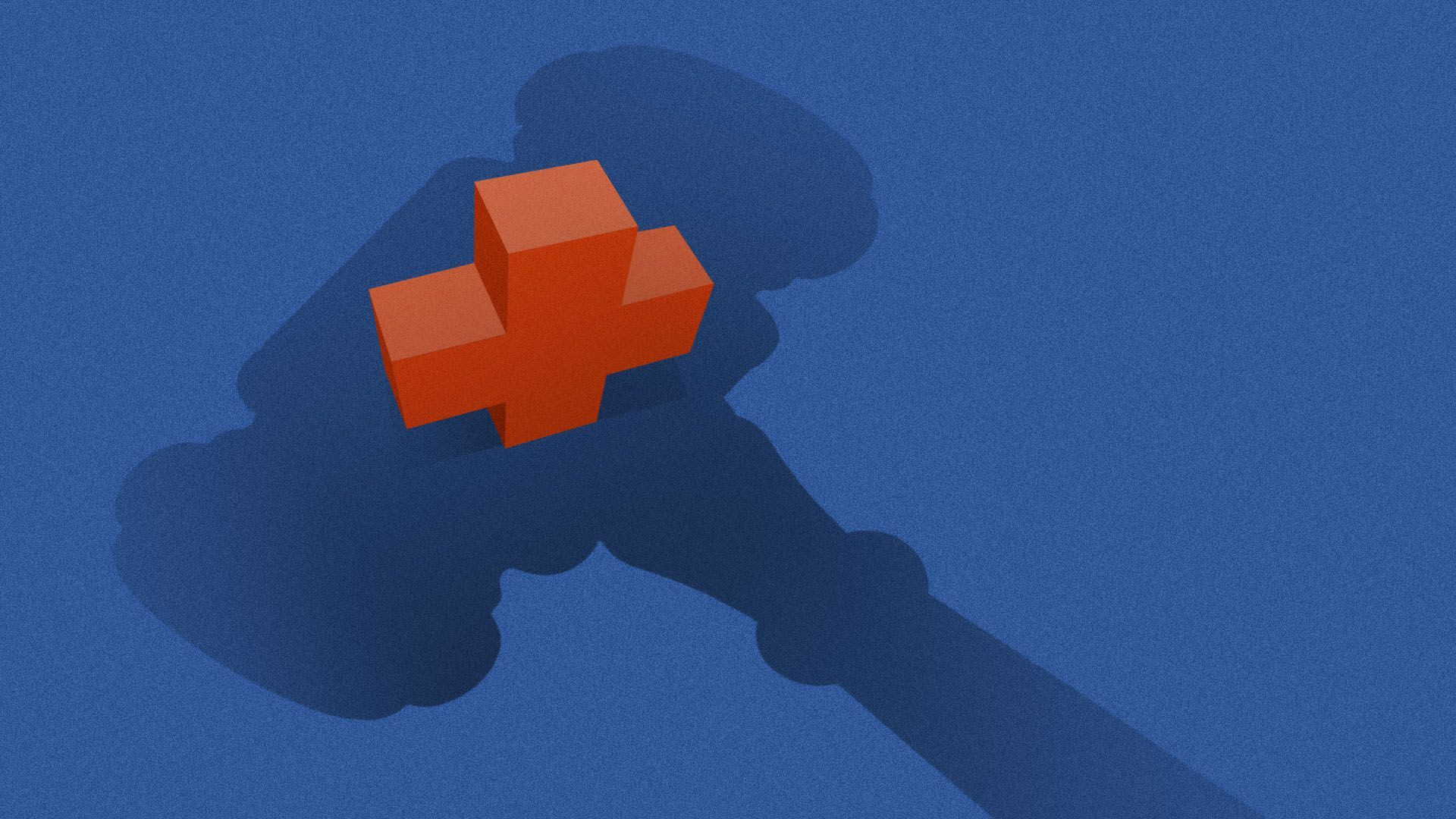 Illustration of a shadow of a gavel hovering over a medical plus symbol