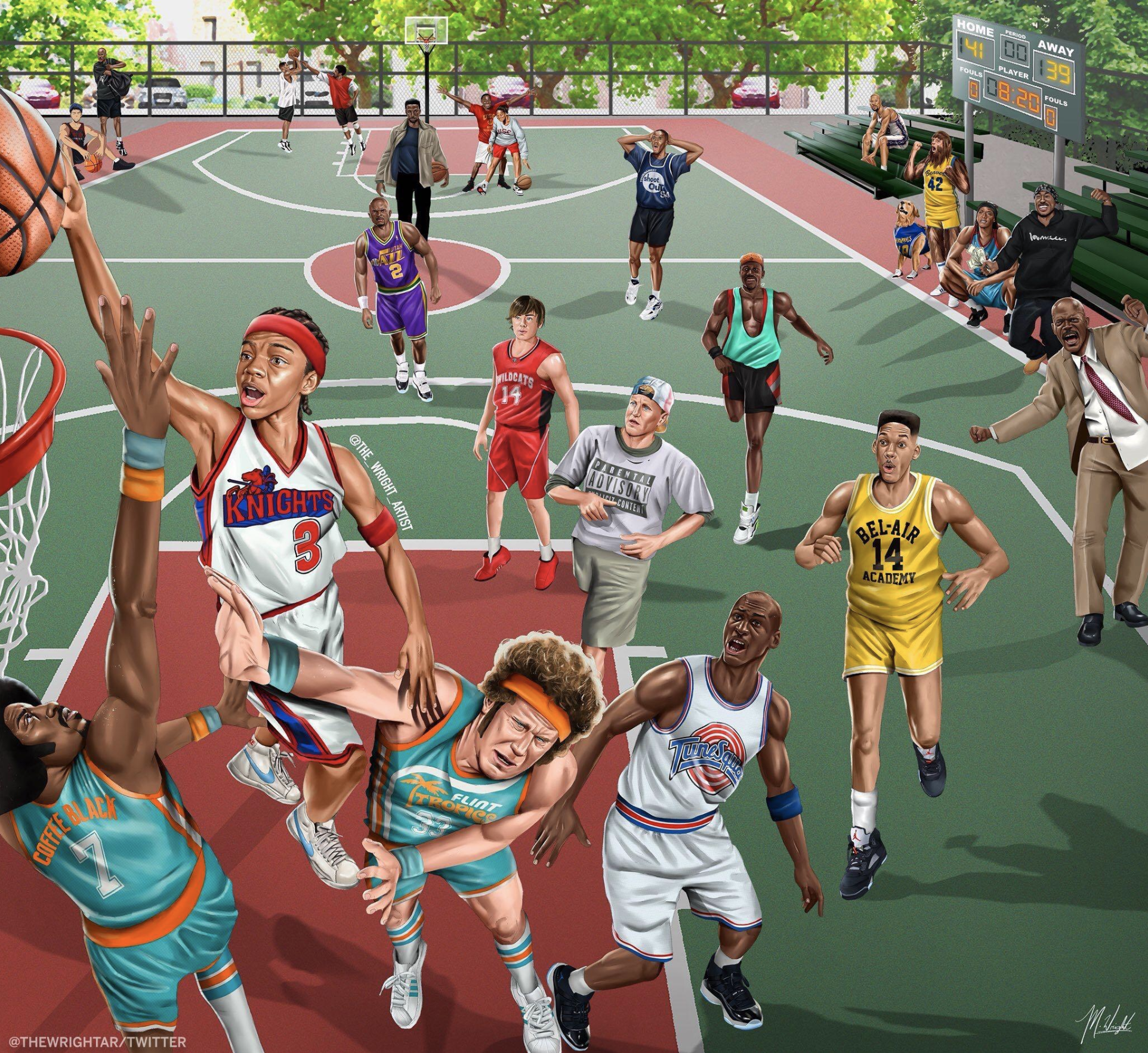 Sports movie character collage
