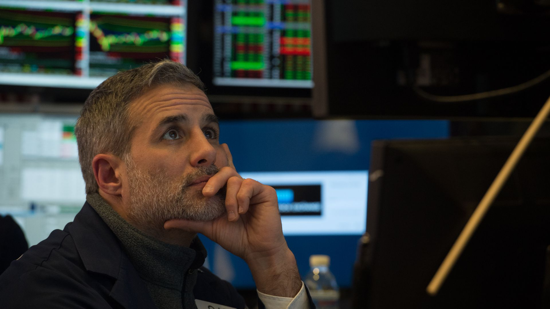 A trader works on the floor at the New York Stock Exchange.