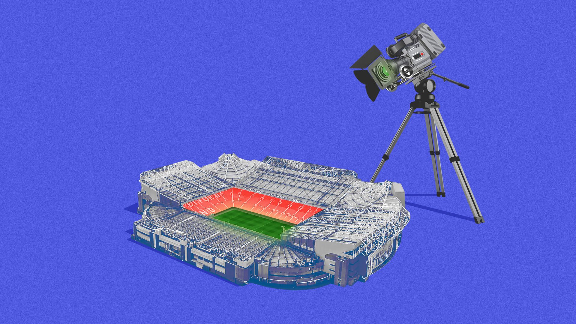 Illustration of a giant television camera over a sports stadium