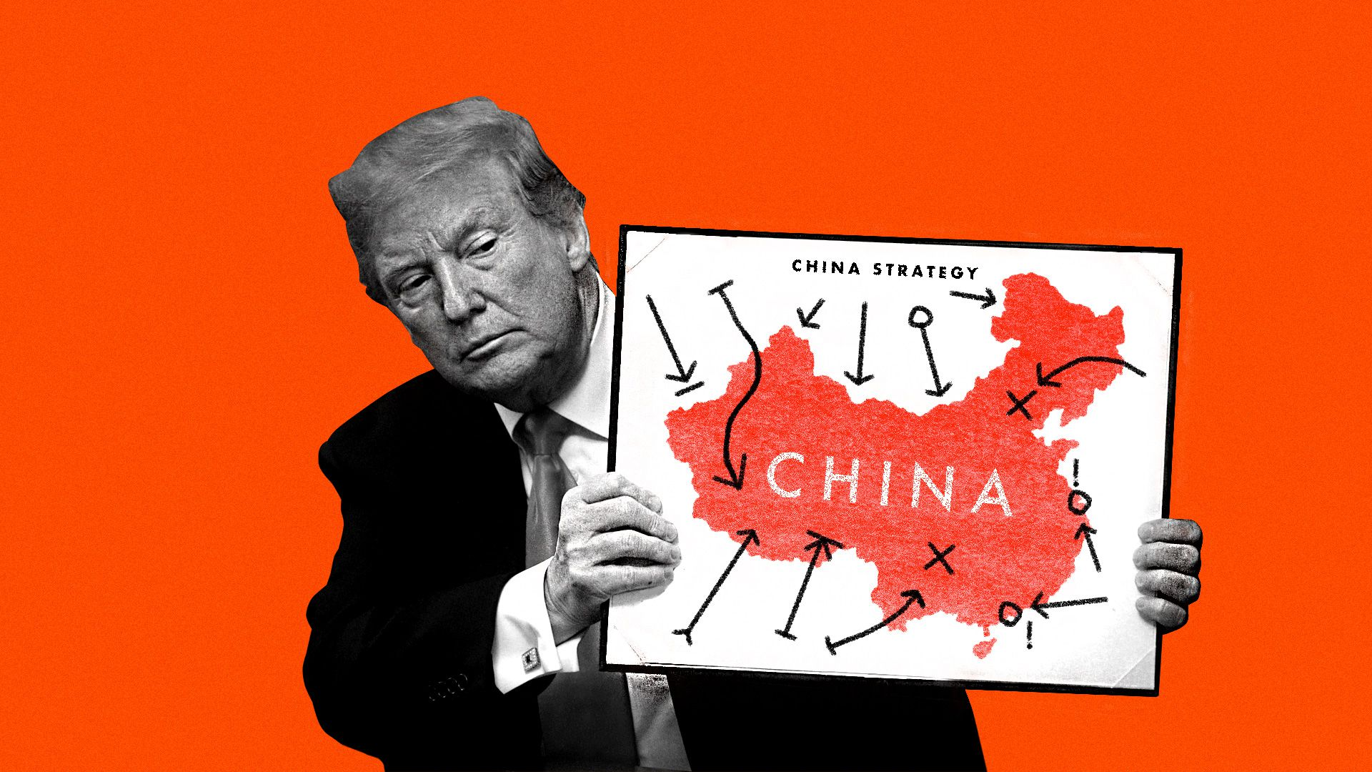Trump holding up a confusing map of China